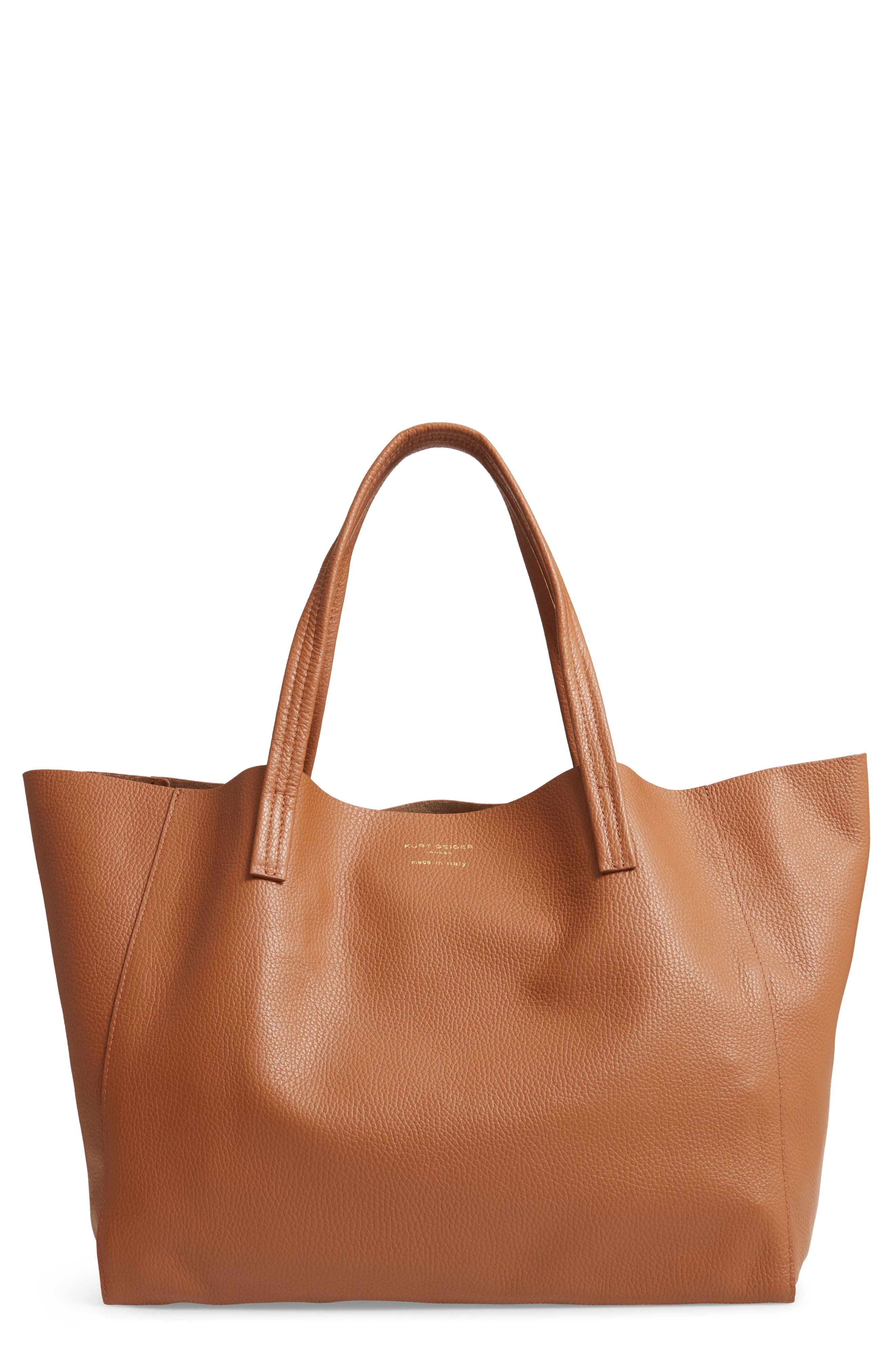 Violet Leather Tote - Brown in Tan