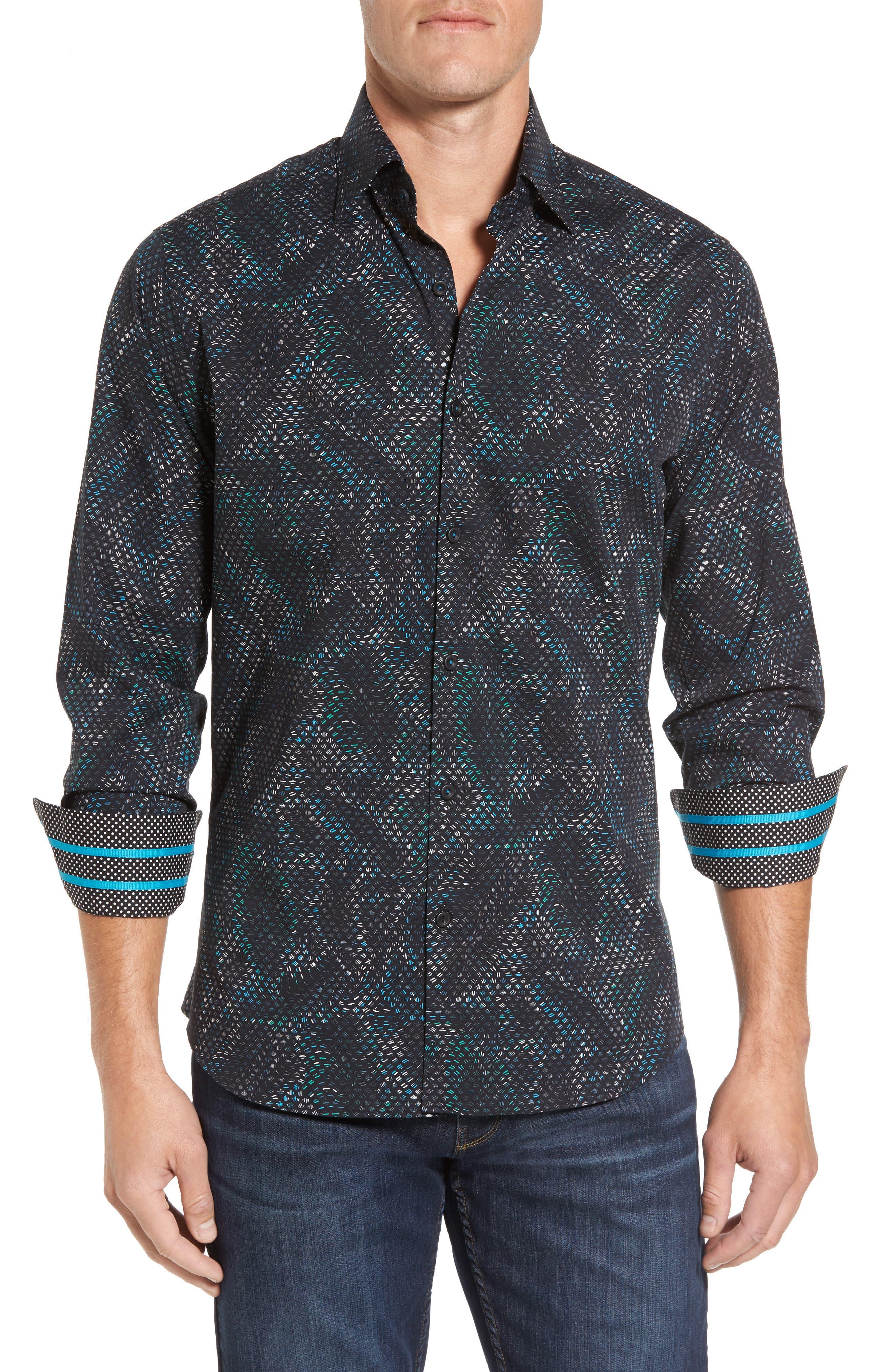 Slim Fit Scale FX Print Sport Shirt,                         Main,                         color, 420