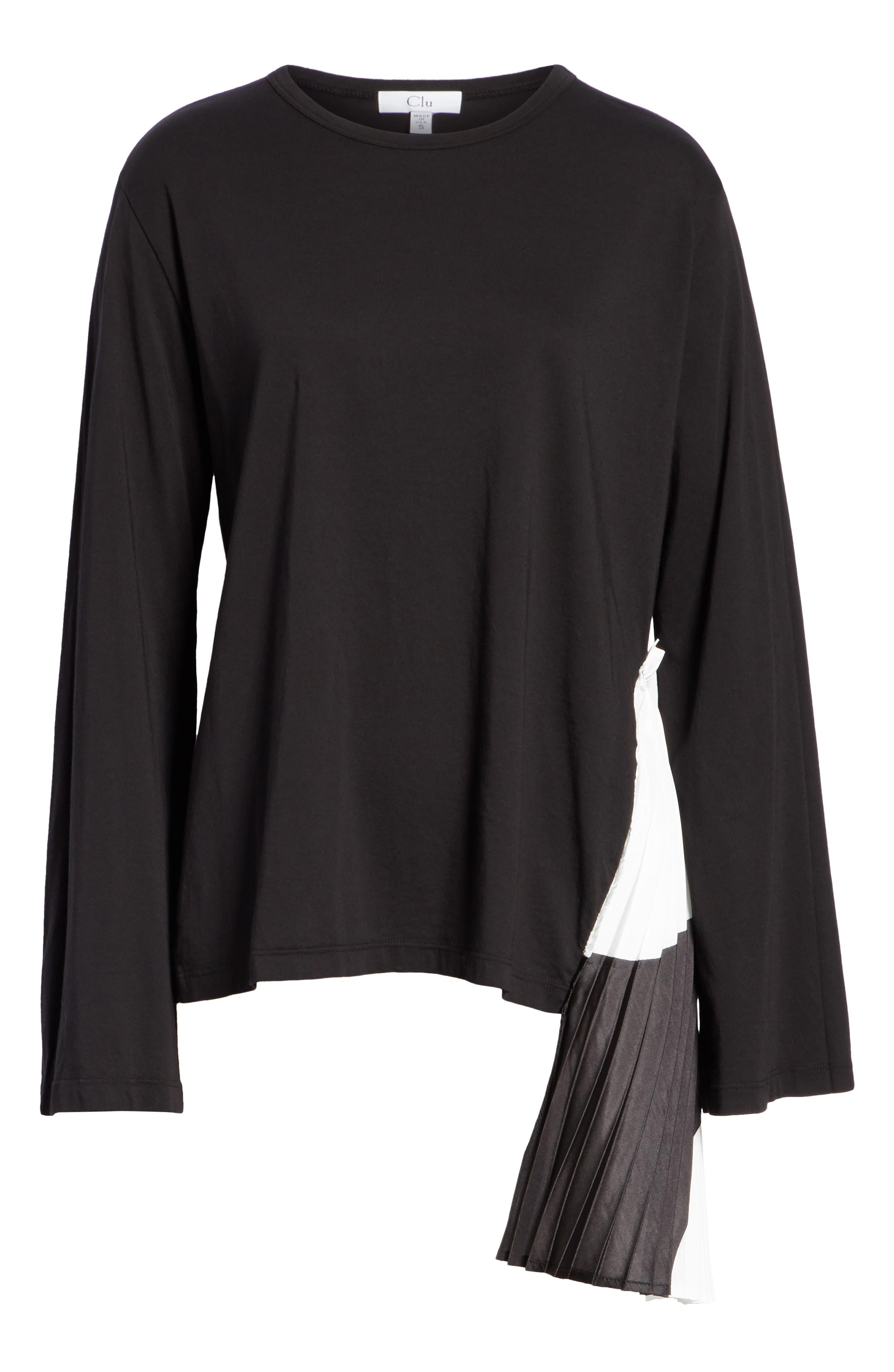 Pleat Accent Crewneck Long Sleeve Top,                             Alternate thumbnail 6, color,                             BLACK/ BLACK/ WHITE