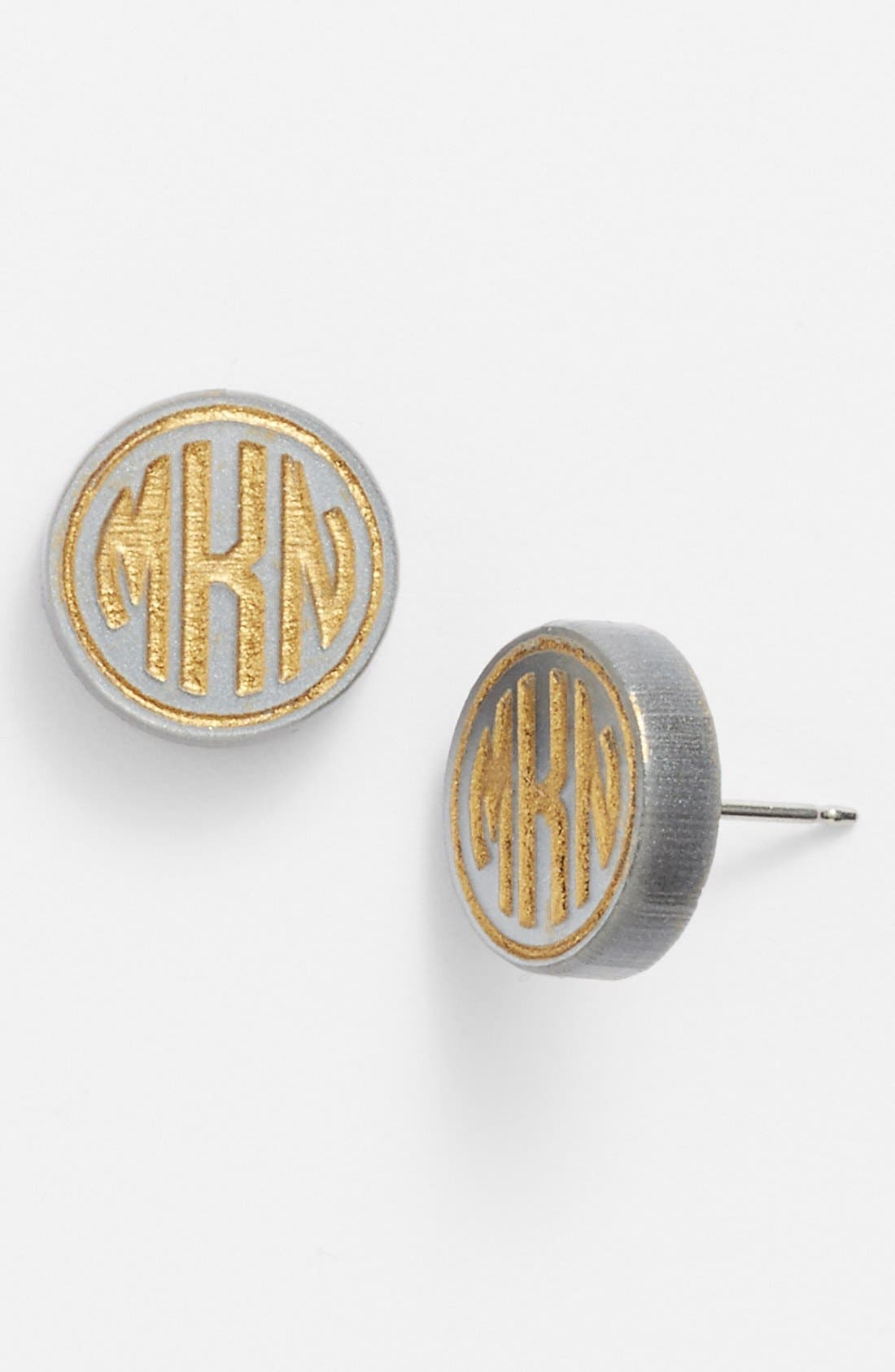 'Chelsea' Small Personalized Monogram Stud Earrings,                             Main thumbnail 1, color,                             GUNMETAL/ GOLD