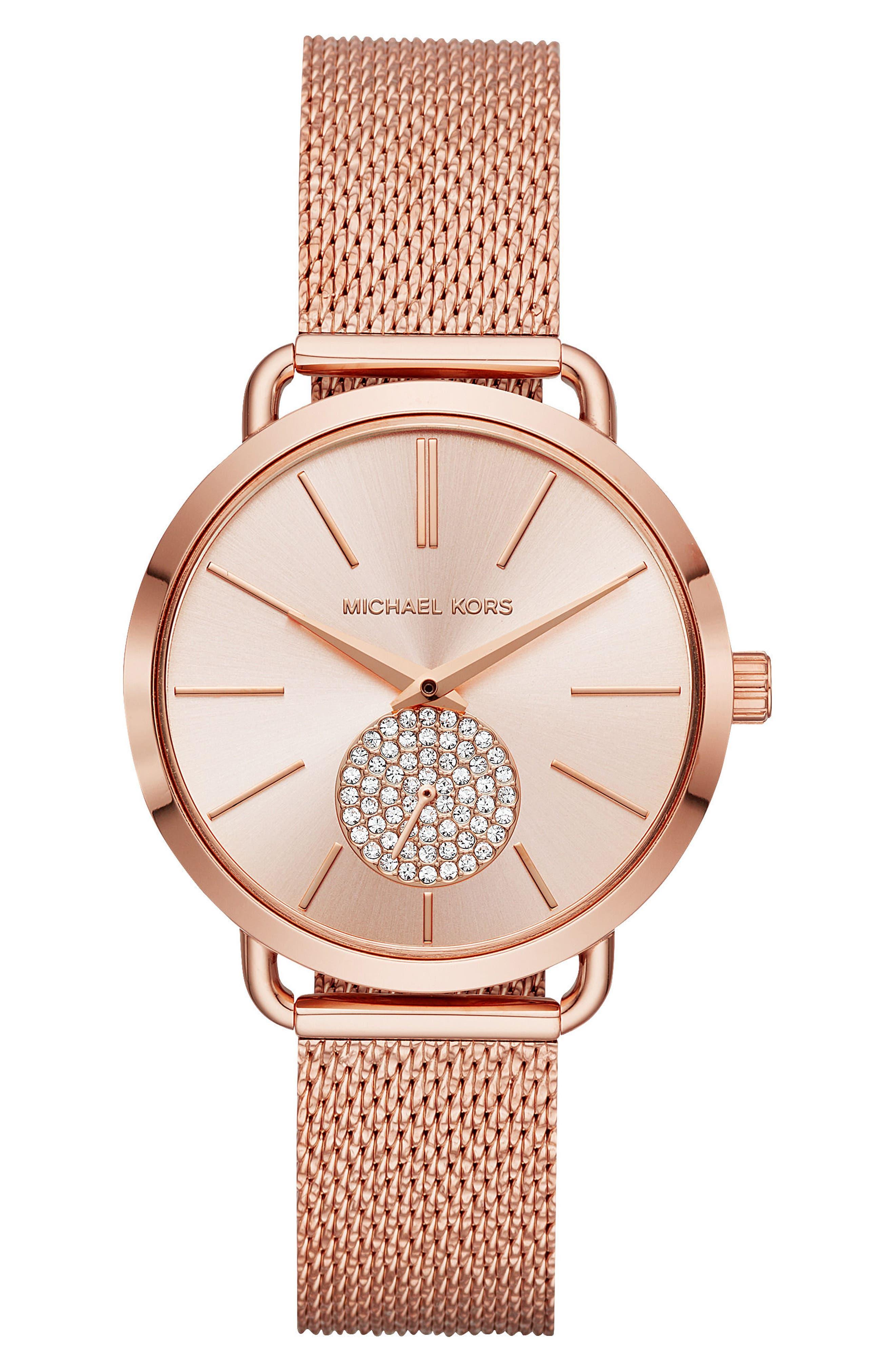 Portia Mesh Strap Watch, 37mm,                         Main,                         color, ROSE GOLD