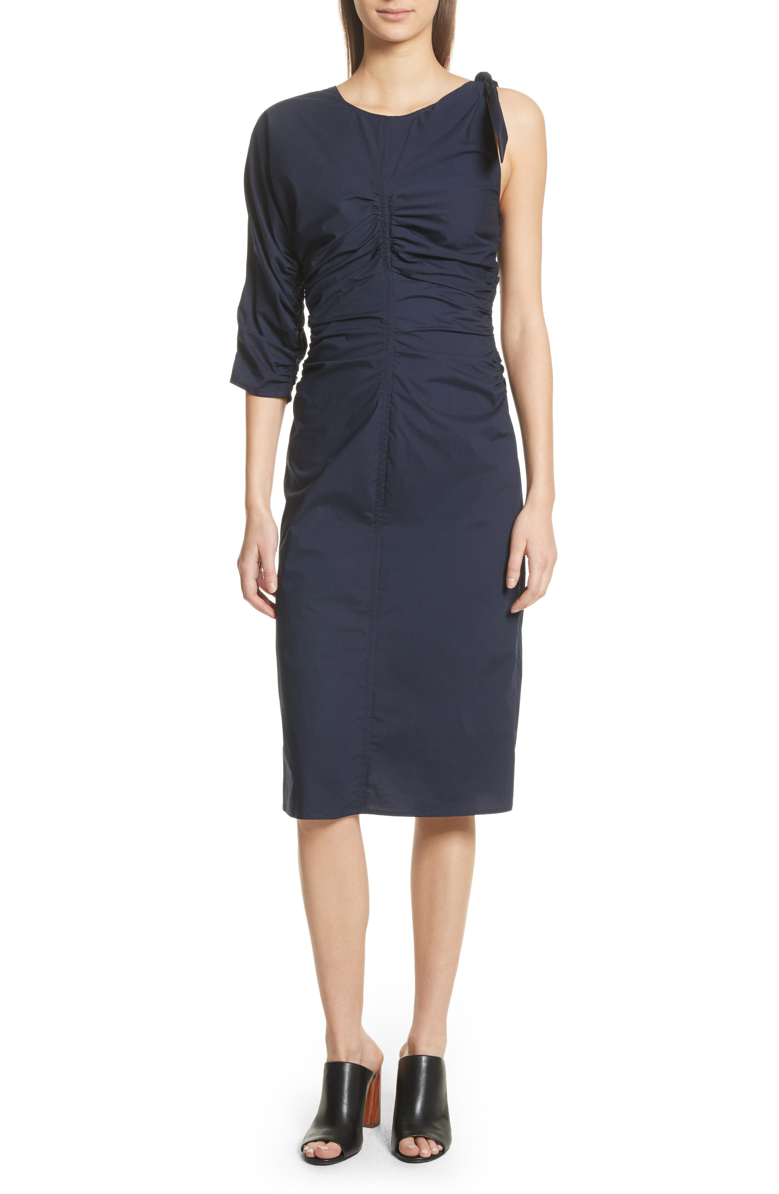 Clota Ruched One-Shoulder Poplin Dress,                             Main thumbnail 1, color,                             400
