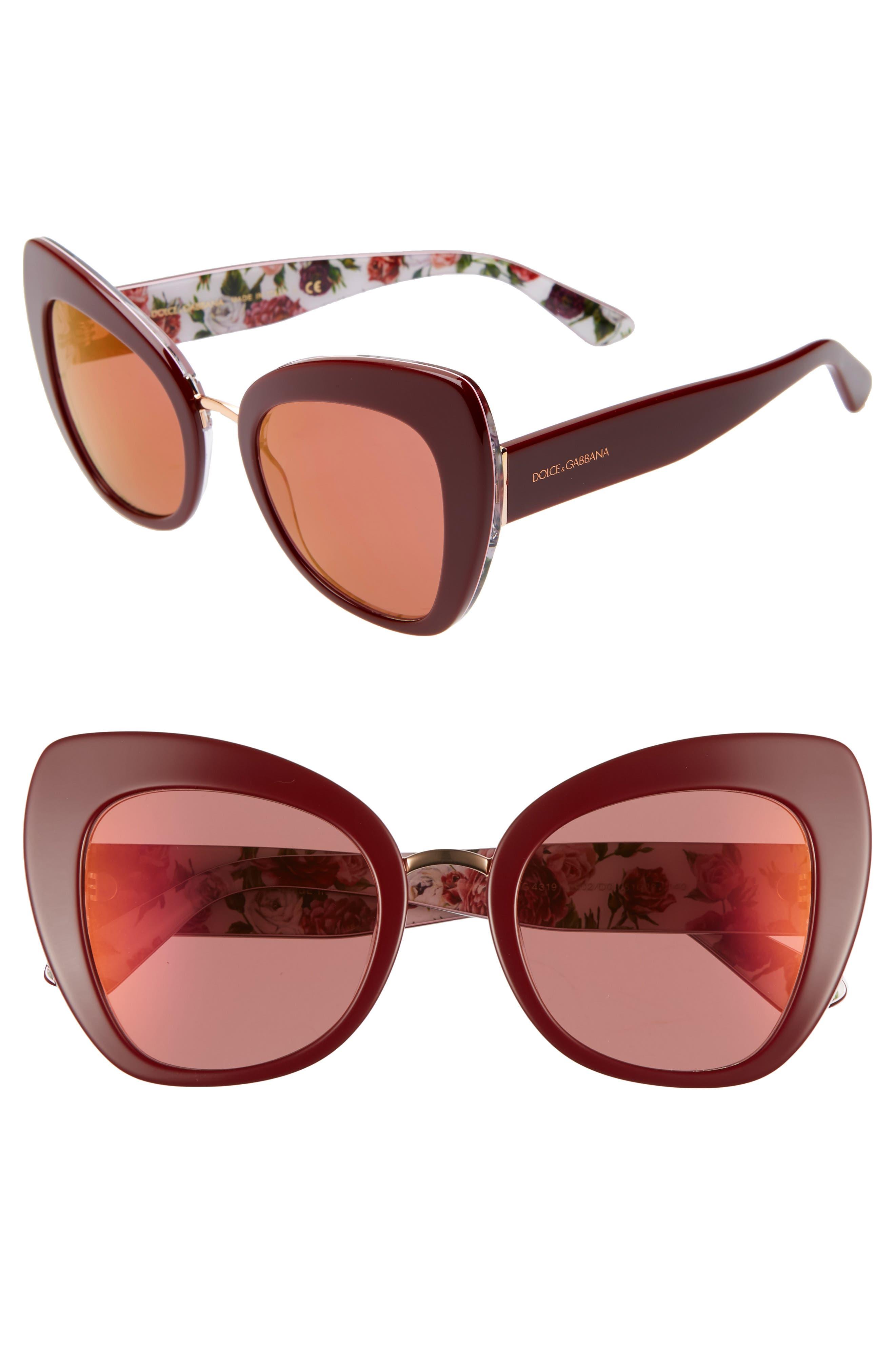 51mm Mirrored Cat Eye Sunglasses,                         Main,                         color, PURPLE/ RED MIRROR