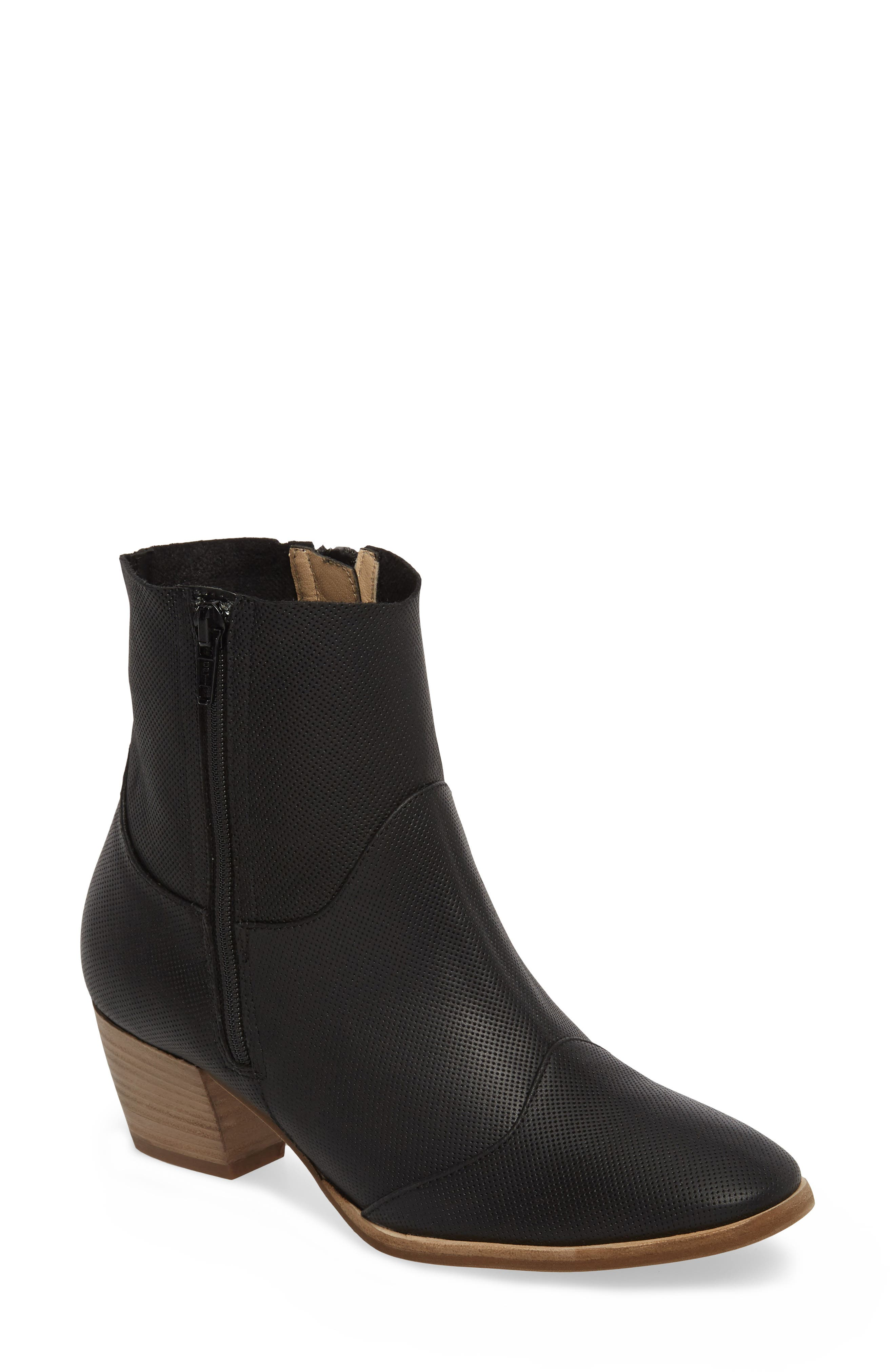 Robin Bootie,                             Main thumbnail 1, color,                             BLACK LEATHER