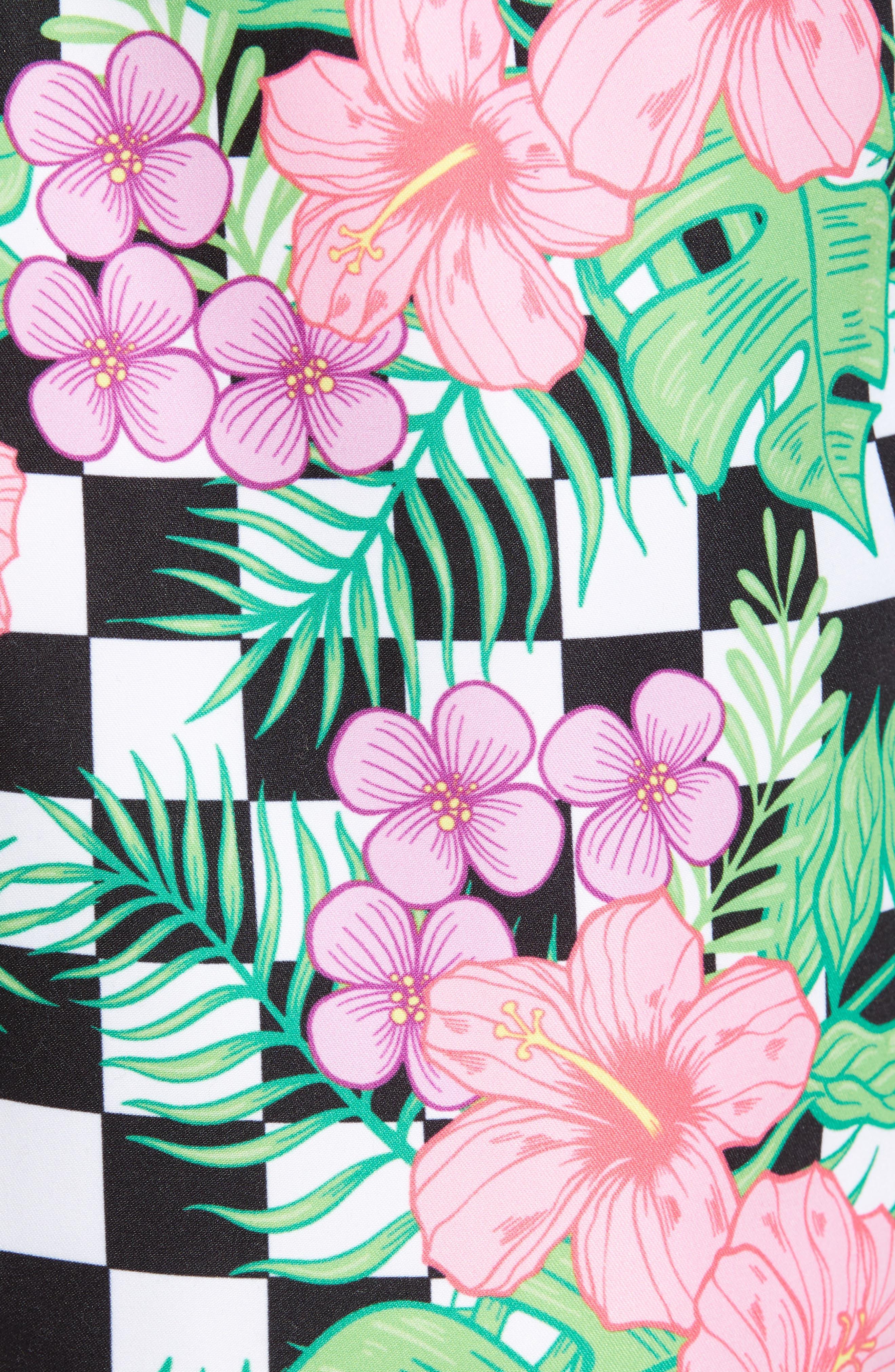 Checkerboard Floral Print Swim Trunks,                             Alternate thumbnail 5, color,                             MULTI
