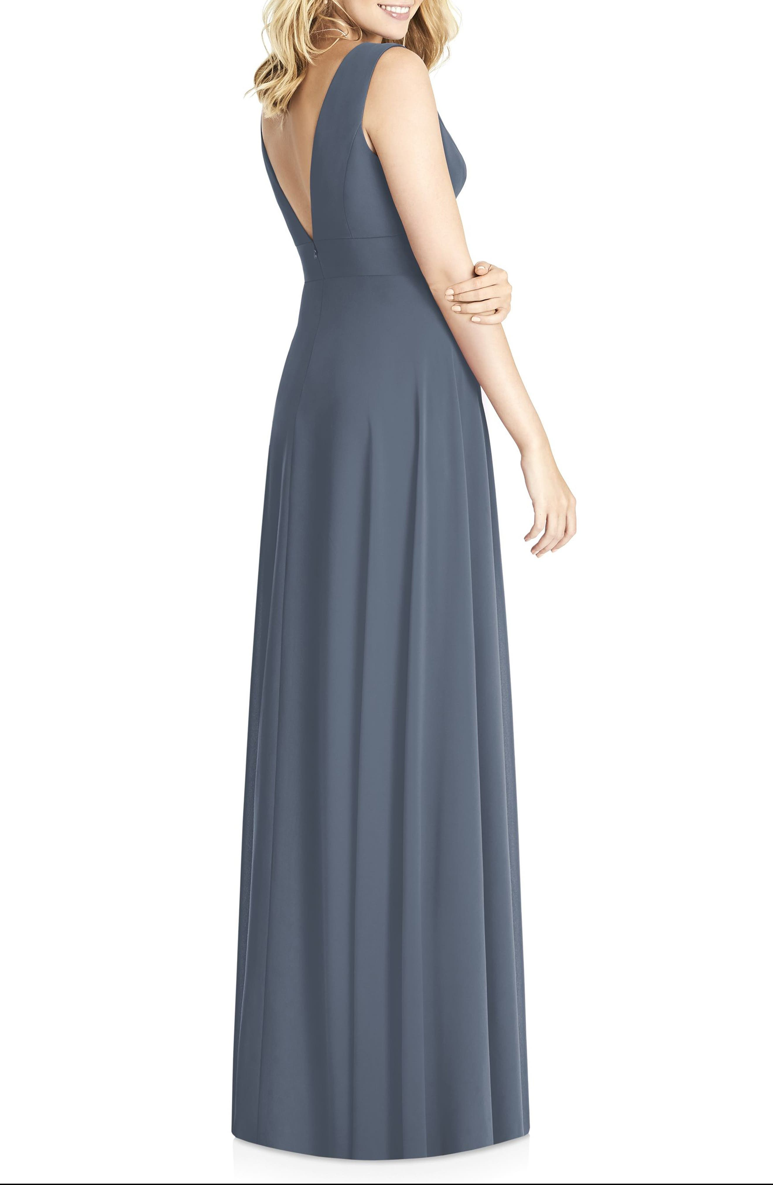 Matte Chiffon Gown,                             Alternate thumbnail 2, color,                             SILVERSTONE