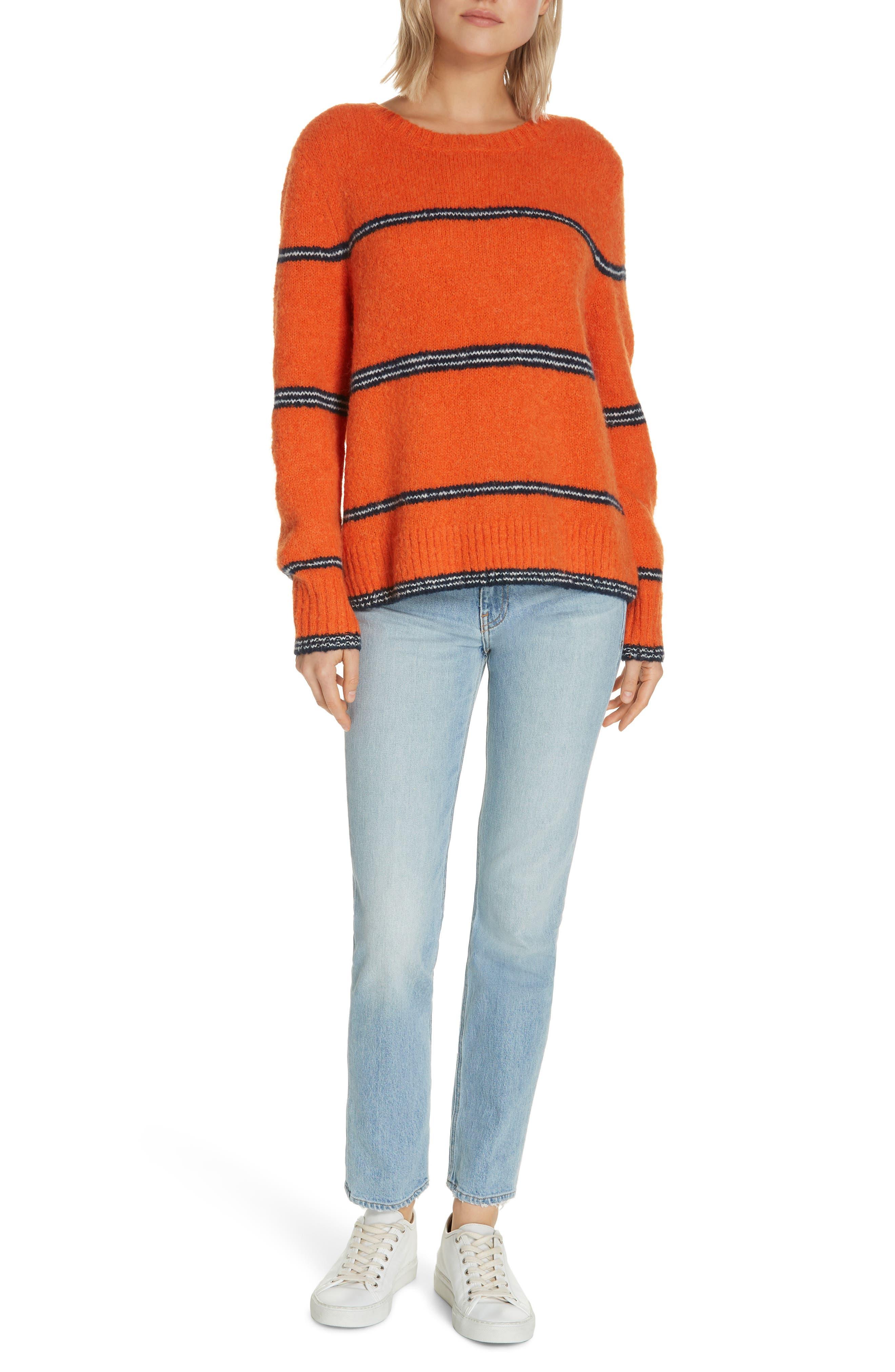 FRAME,                             Stripe Sweater,                             Alternate thumbnail 7, color,                             PERSIMMON MULTI