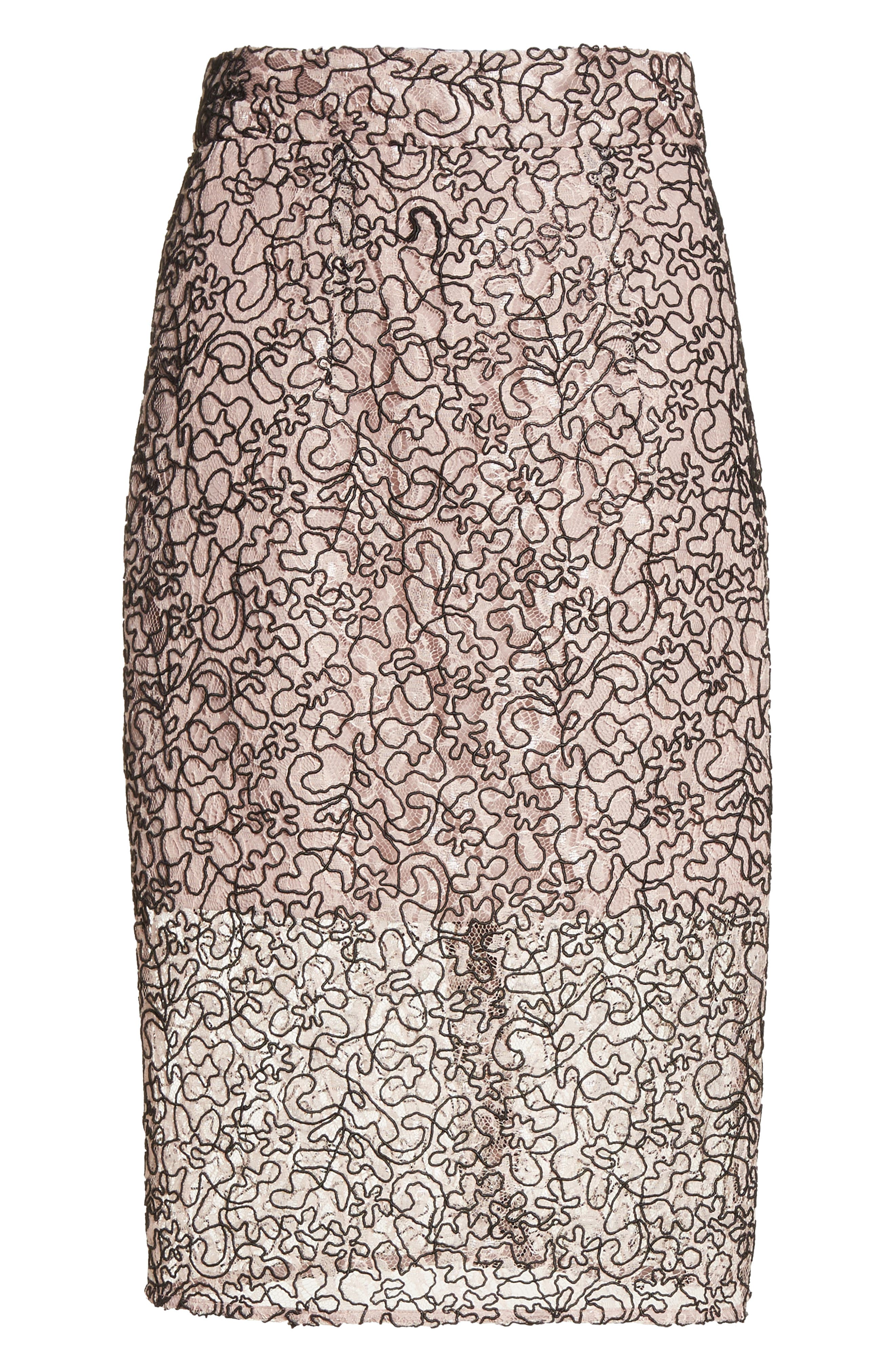 Corded Lace Pencil Skirt,                             Alternate thumbnail 6, color,                             653