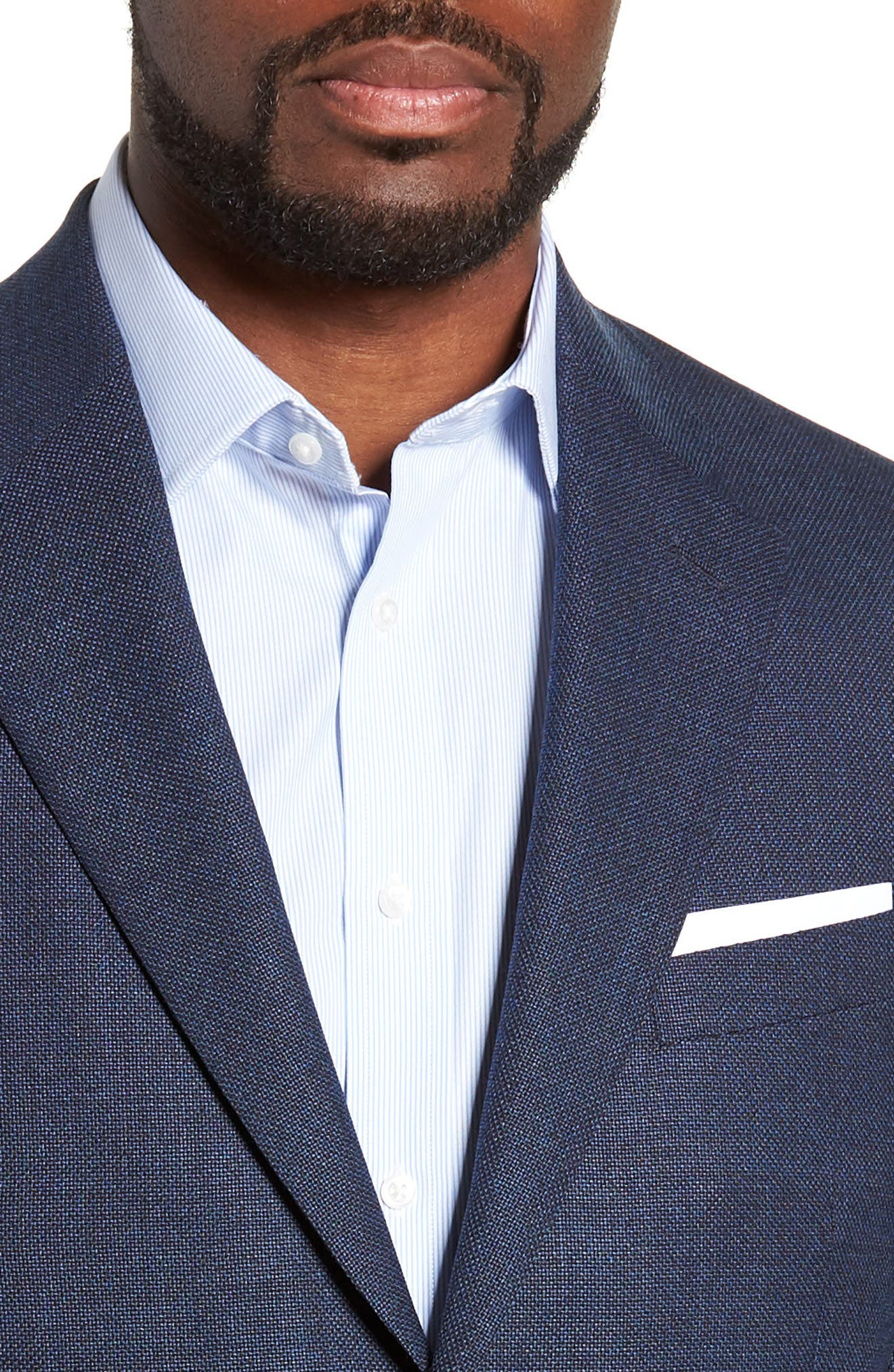Trim Fit Crosshatched Wool Sport Coat,                             Alternate thumbnail 4, color,                             415
