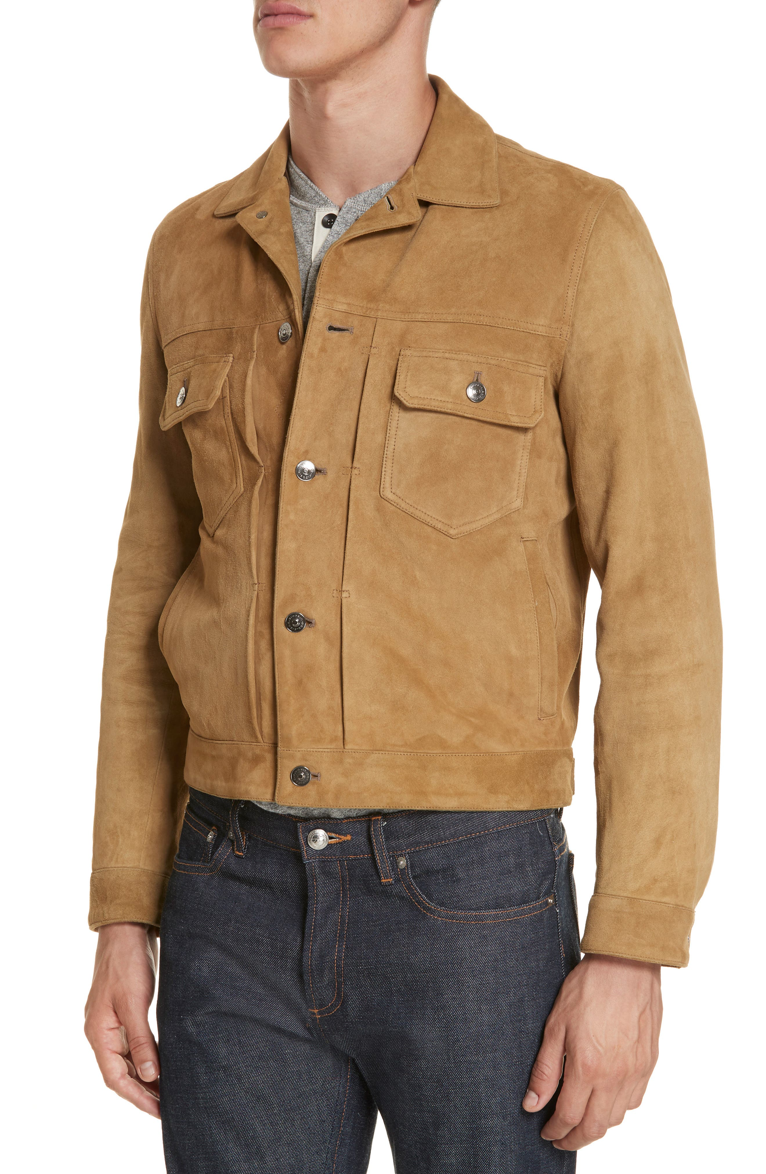Suede Western Jacket,                             Alternate thumbnail 4, color,                             WALNUT