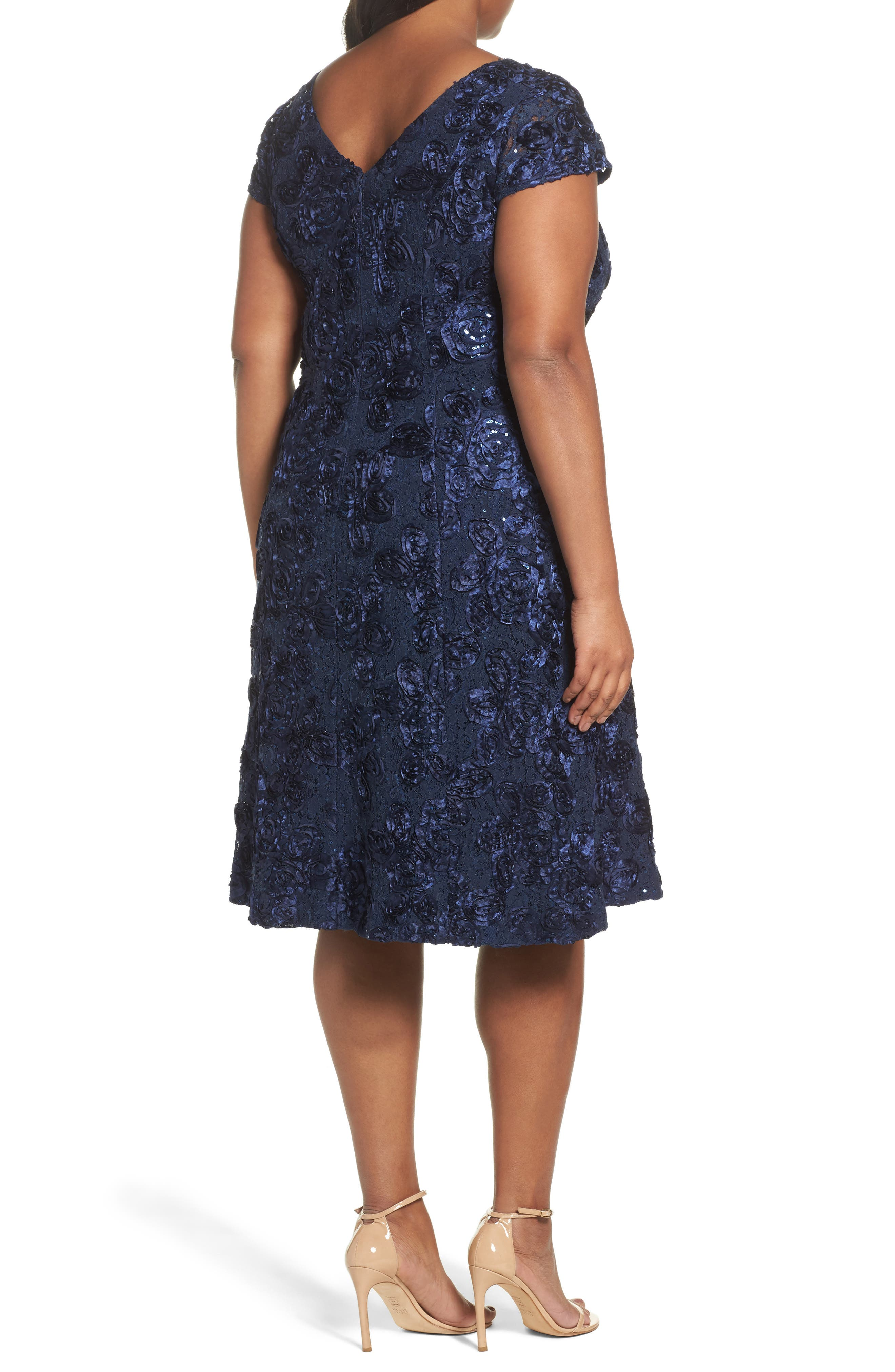 Rosette Fit & Flare Dress,                             Alternate thumbnail 2, color,                             410