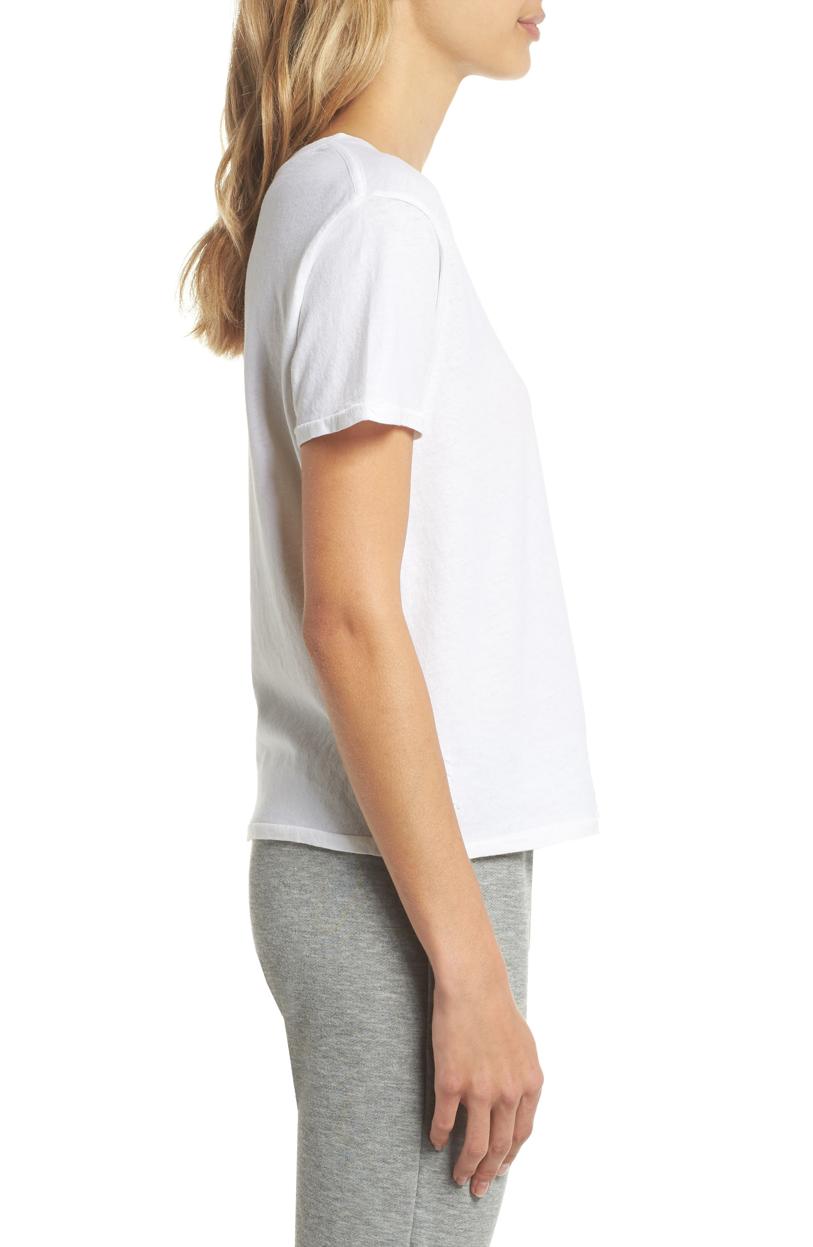 Crop Lounge Tee,                             Alternate thumbnail 3, color,                             100