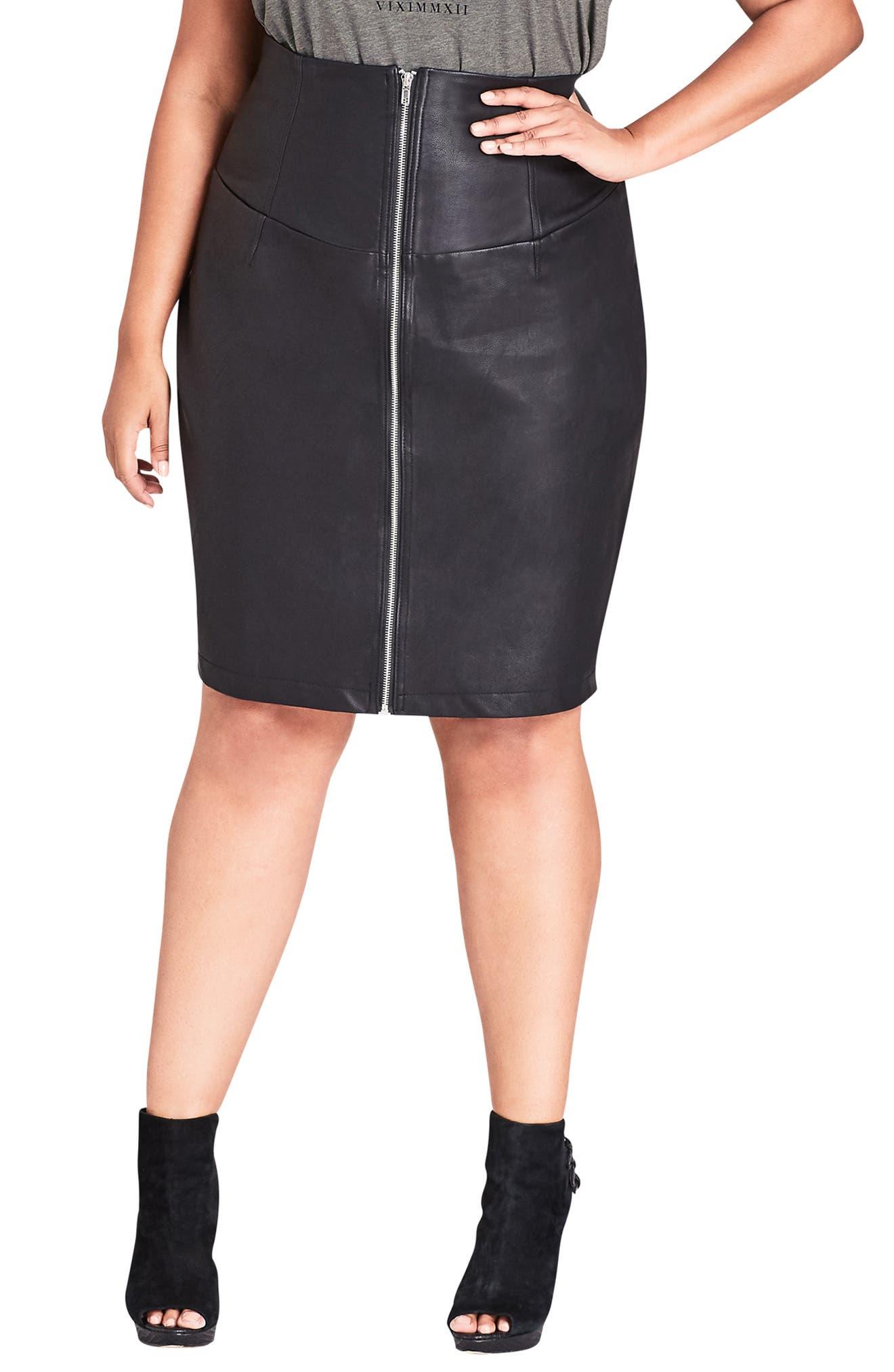 Plus Size City Chic Faux Leather Corset Skirt, Black