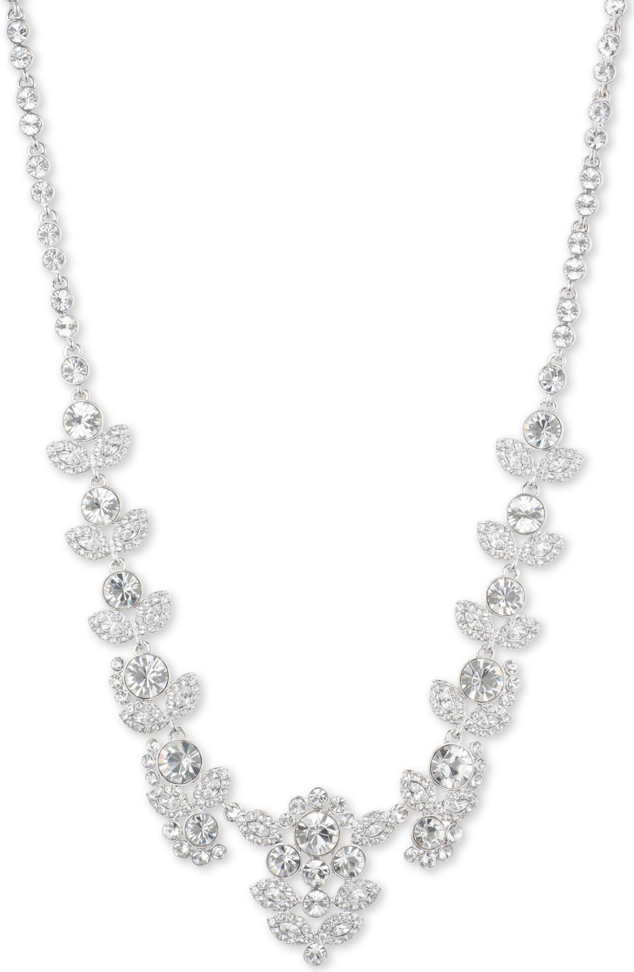 Crystal Collar Necklace,                             Main thumbnail 1, color,                             SILVER