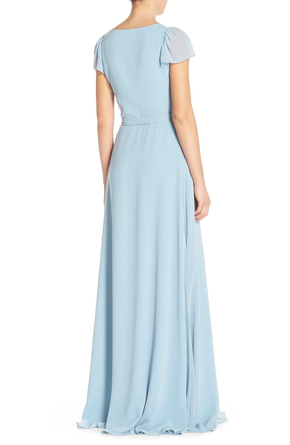 Aurele Cap Sleeve Chiffon Wrap Gown,                             Alternate thumbnail 4, color,
