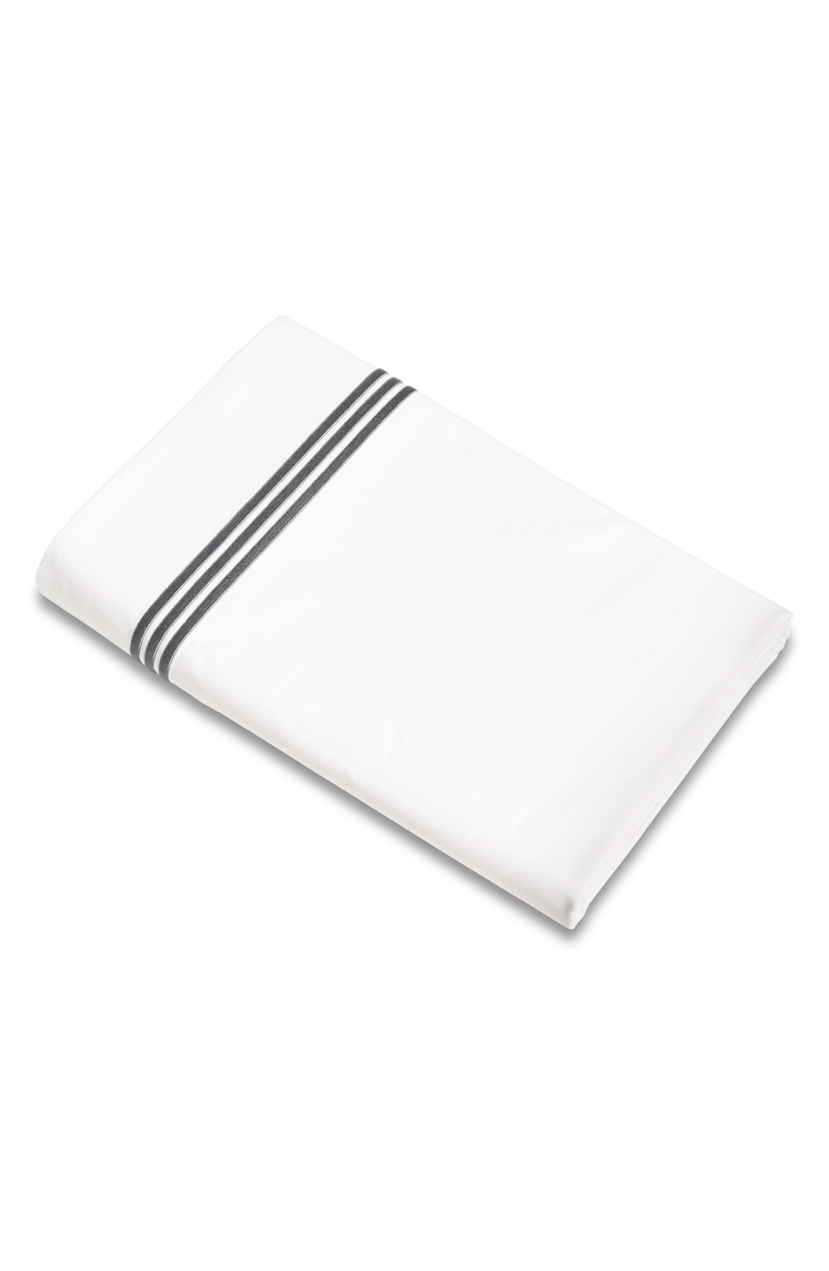 Signoria Firenze Platinum 400 Thread Count Flat Sheet,                             Main thumbnail 1, color,                             LEAD GREY