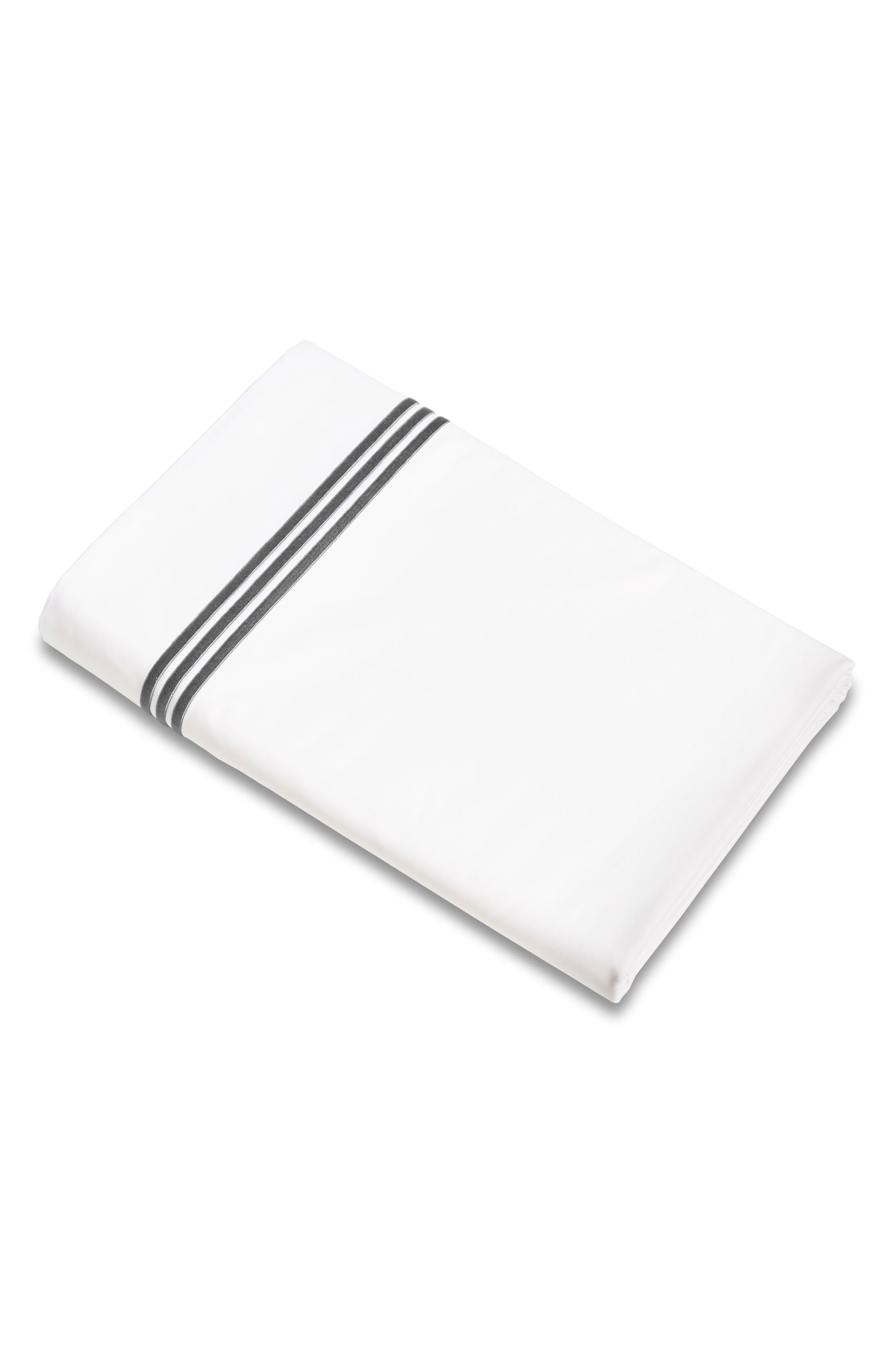 Signoria Firenze Platinum 400 Thread Count Flat Sheet,                         Main,                         color, LEAD GREY