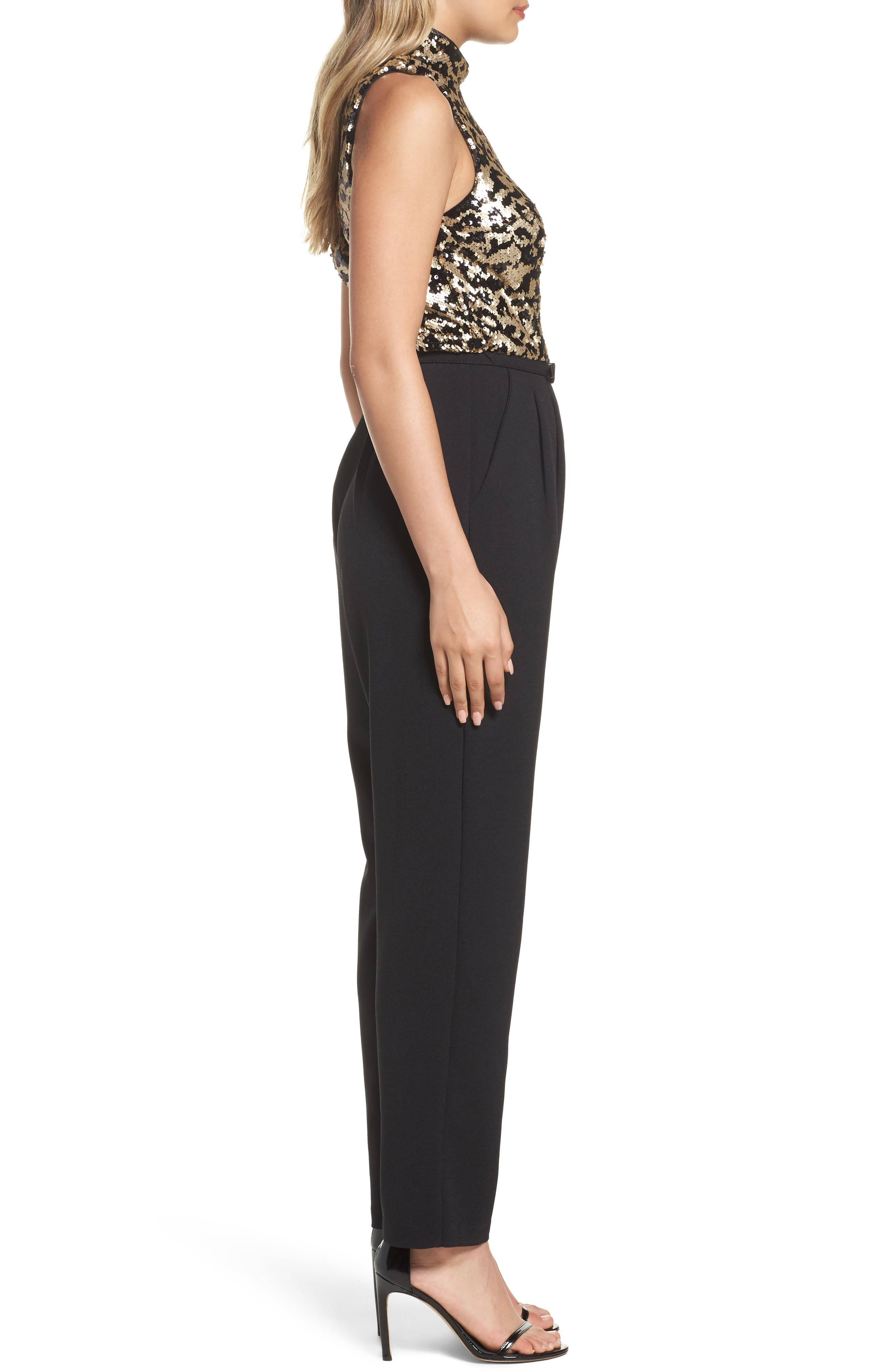 Sequin Leopard Bodice Belted Jumpsuit,                             Alternate thumbnail 3, color,                             008