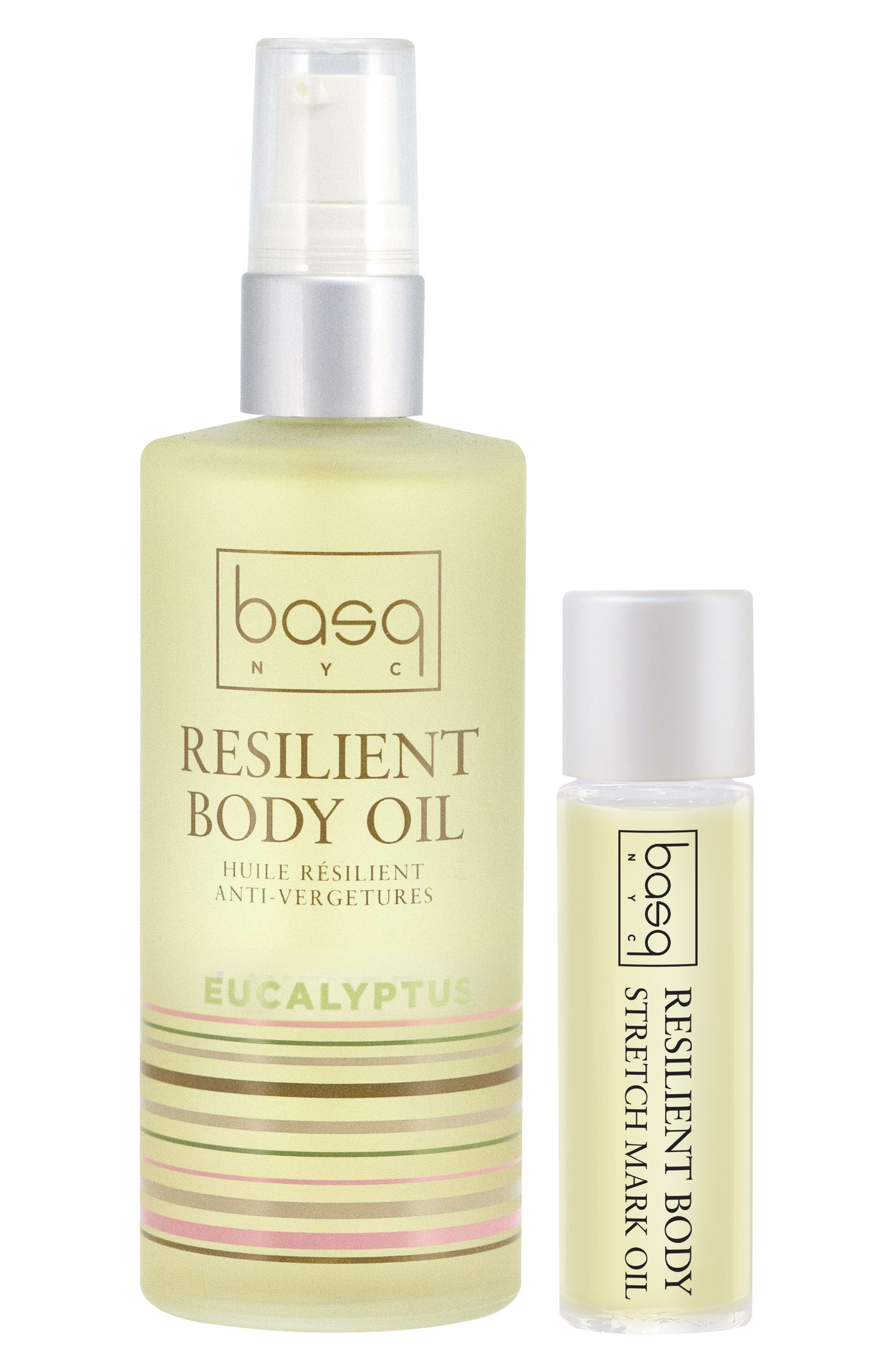 BASQ NYC,                             Eucalyptus Resilient Body Stretch Mark Oil Duo,                             Main thumbnail 1, color,                             100