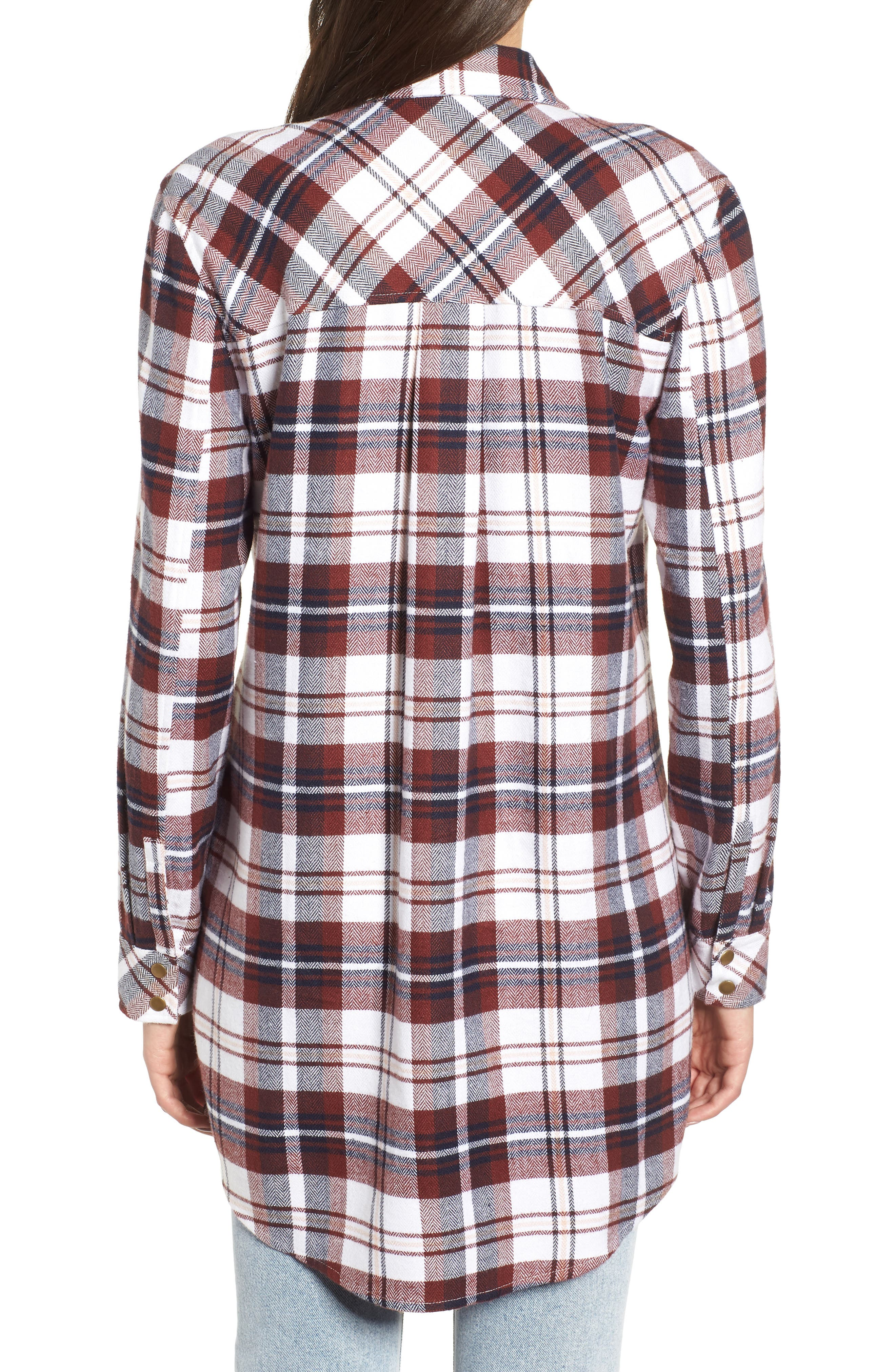 Plaid Flannel Tunic,                             Alternate thumbnail 2, color,                             IVORY CAMEL PLAID