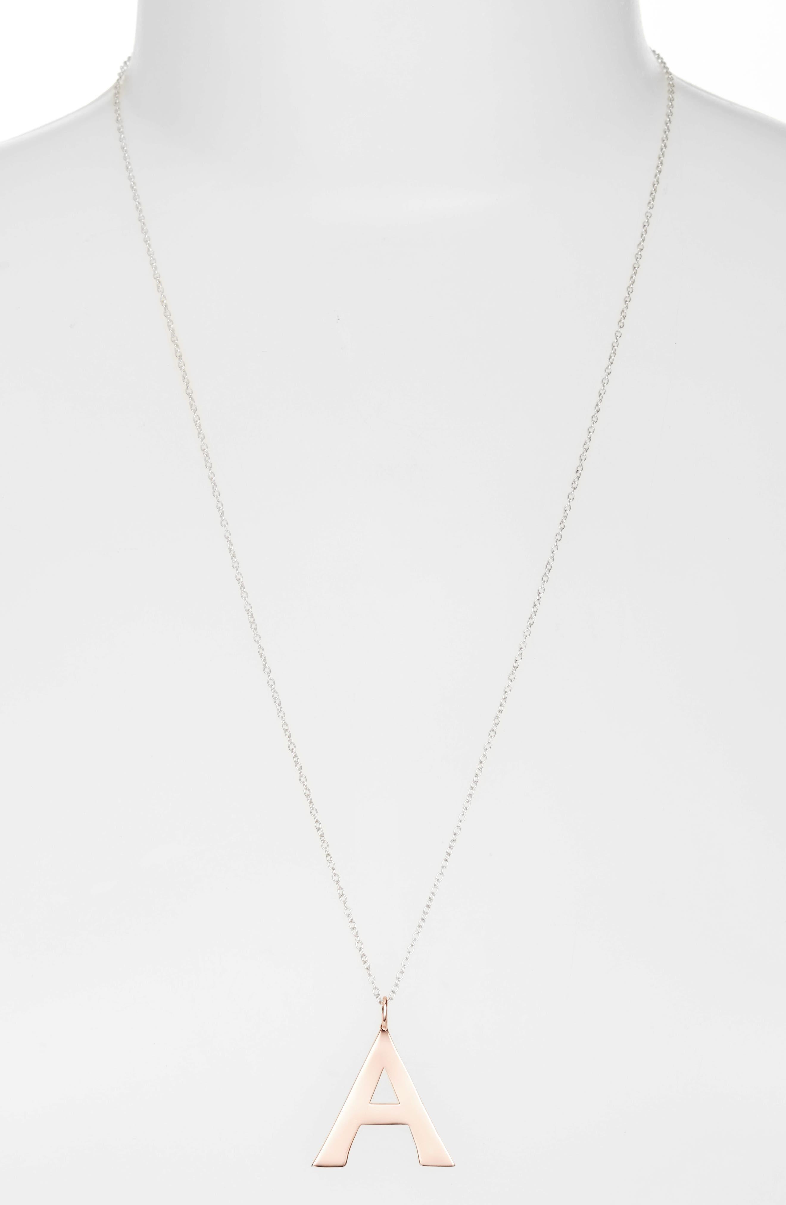 ARGENTO VIVO,                             Initial Pendant Necklace,                             Main thumbnail 1, color,                             650
