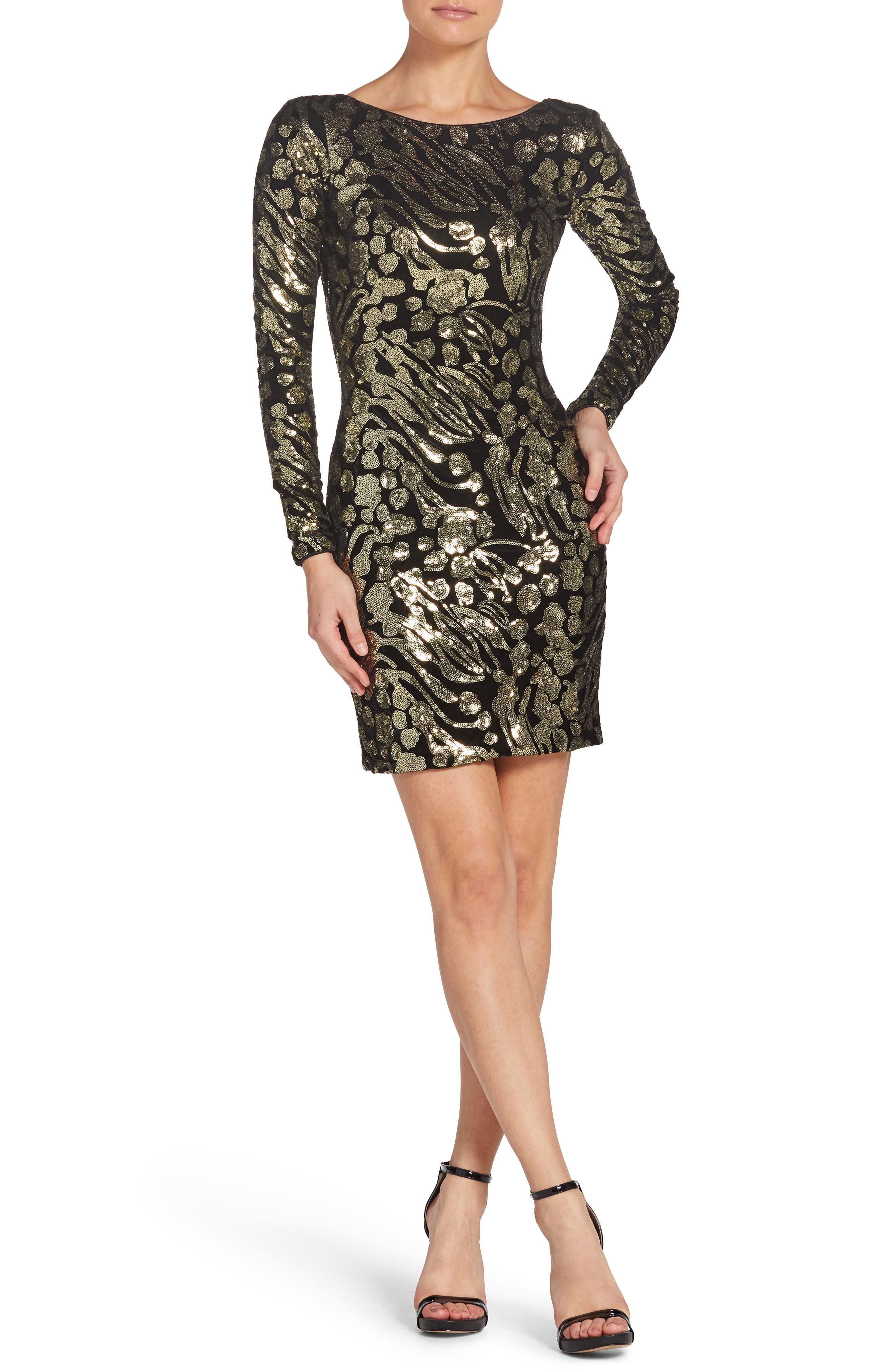 Dress The Population Lola Sequin Minidress, Metallic