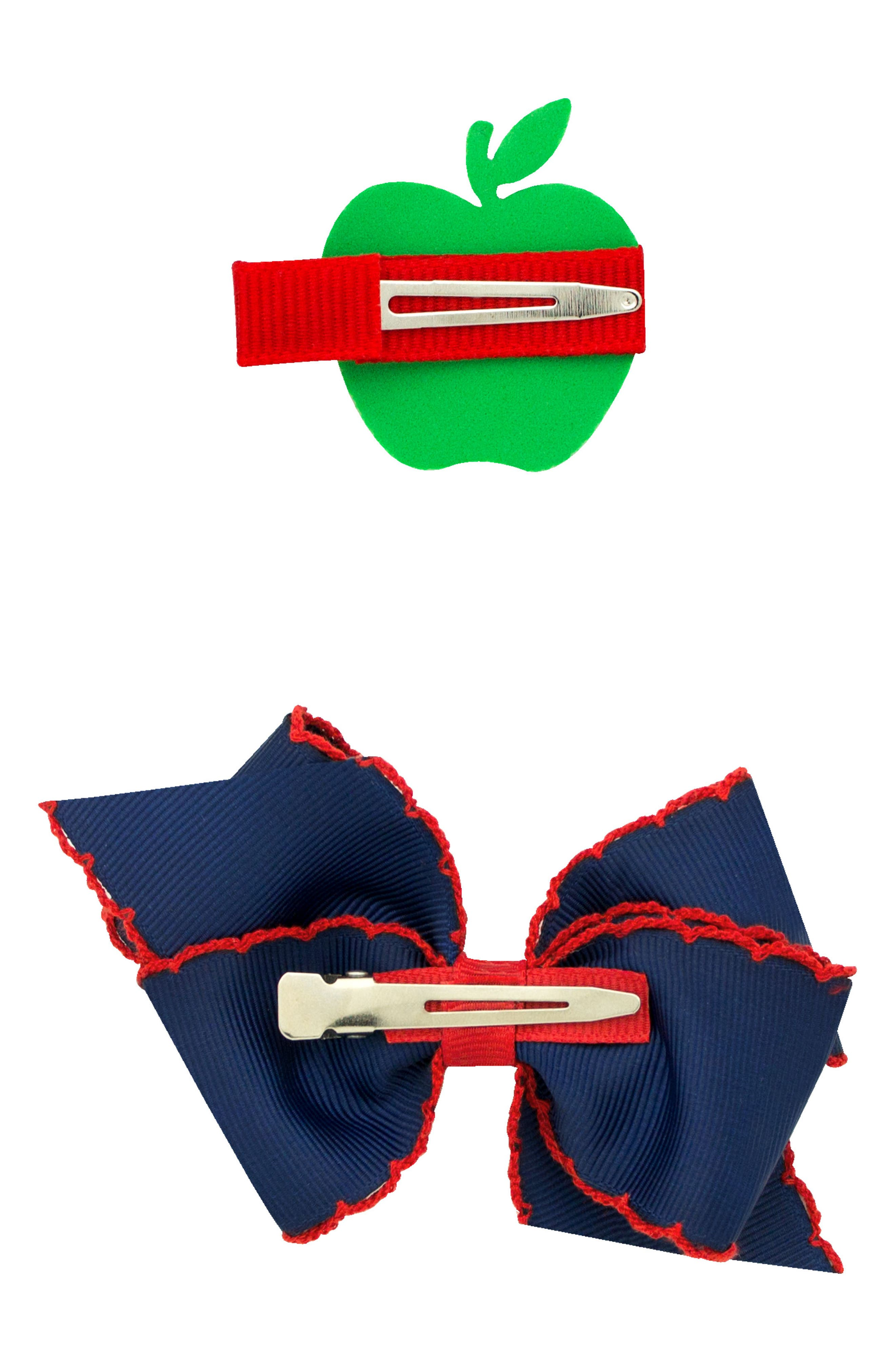 Bow & Apple Hair Clips,                             Alternate thumbnail 2, color,                             NAVY/ RED