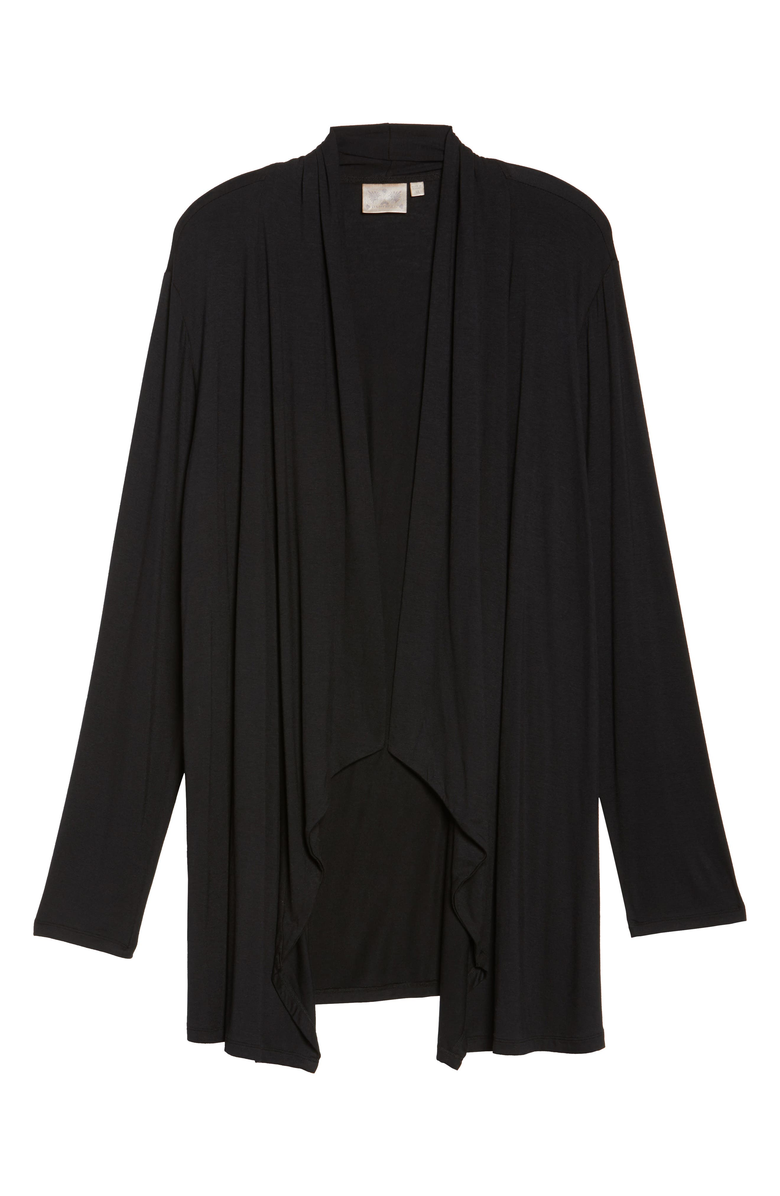 Waterfall Drape Front Cardigan,                             Alternate thumbnail 7, color,                             BLACK