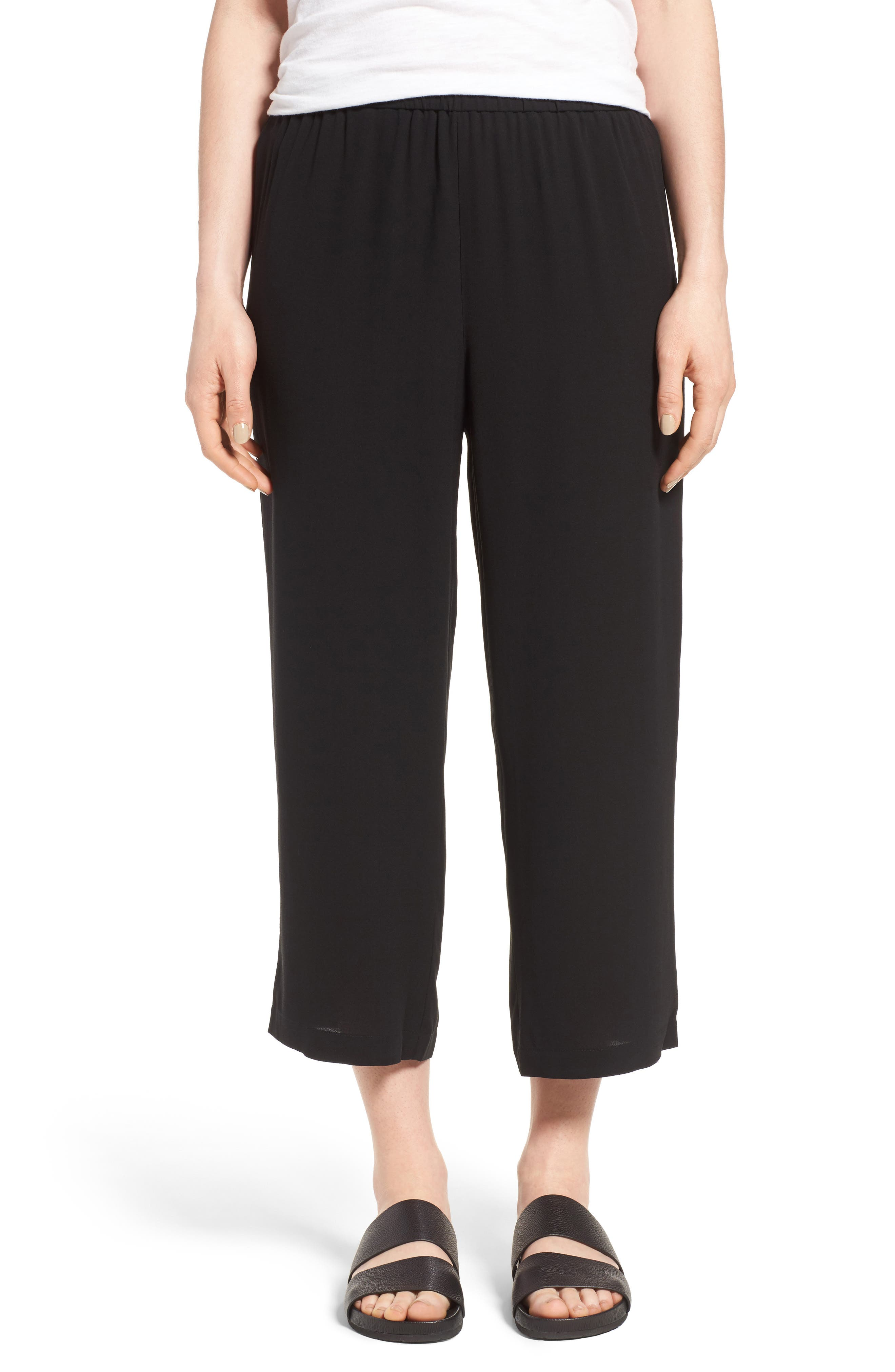 Petite Eileen Fisher Silk Crop Pants, Black