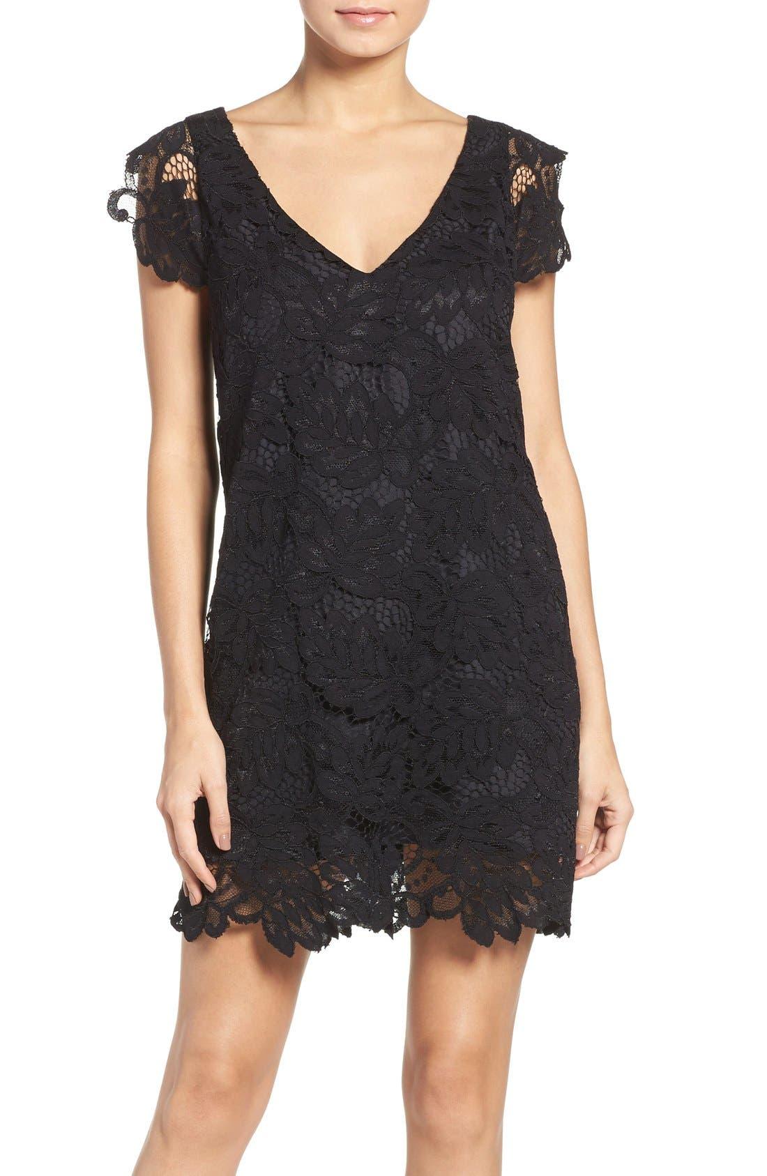 'Jacqueline' Lace Shift Dress,                             Main thumbnail 1, color,                             BLACK