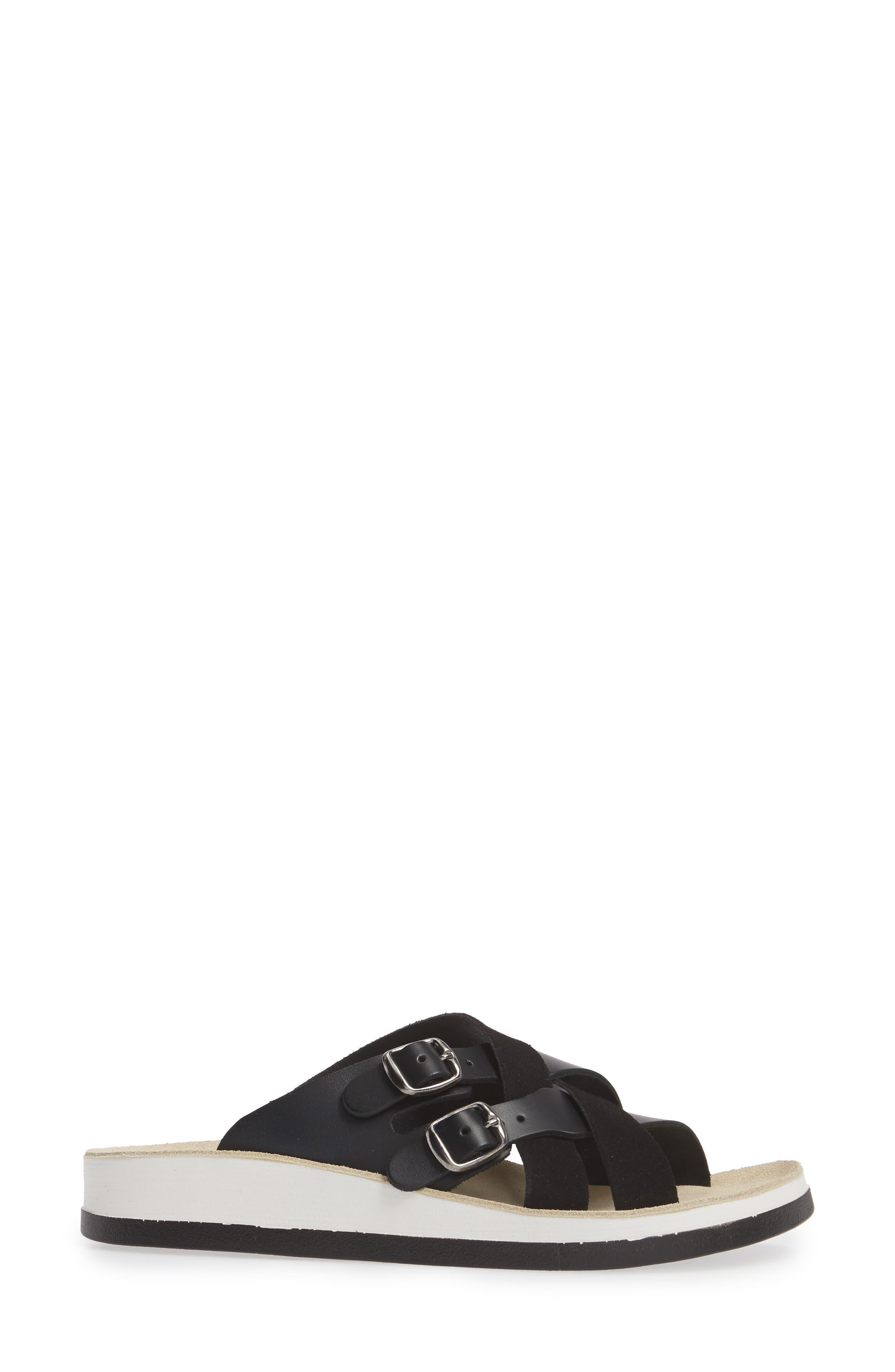 Silvia Slide Sandal,                             Alternate thumbnail 3, color,                             BLACK LEATHER