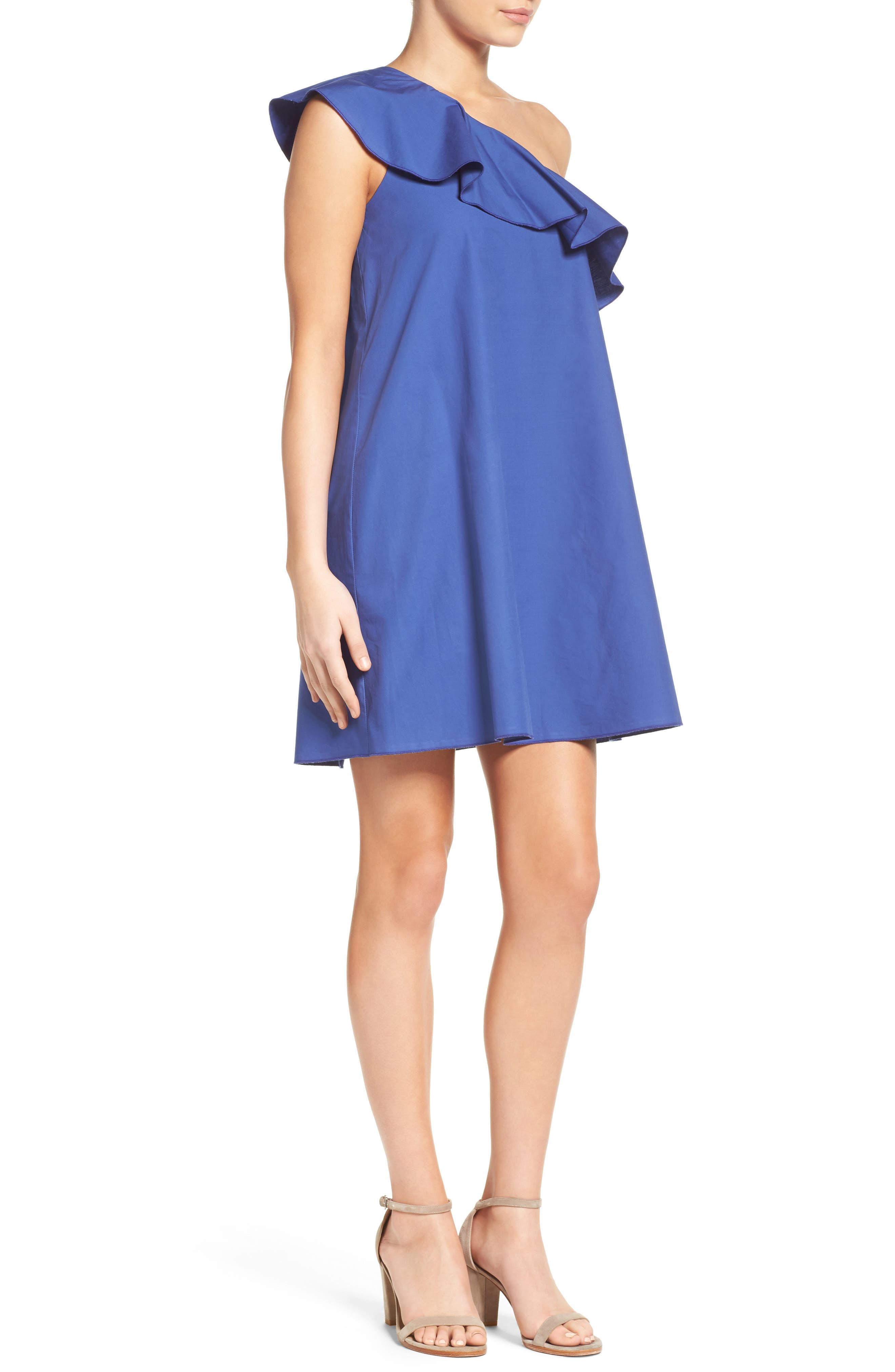 One-Shoulder Ruffle Dress,                             Alternate thumbnail 9, color,