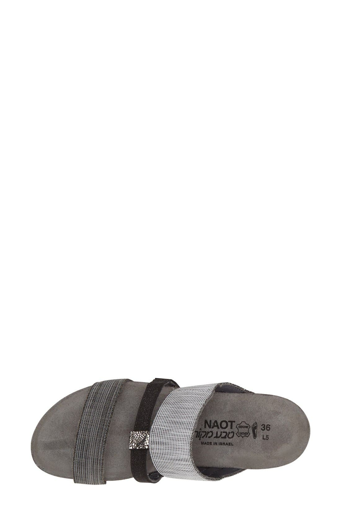 'Brenda' Slip-On Sandal,                             Alternate thumbnail 3, color,                             GREY/ BLACK LEATHER FABRIC