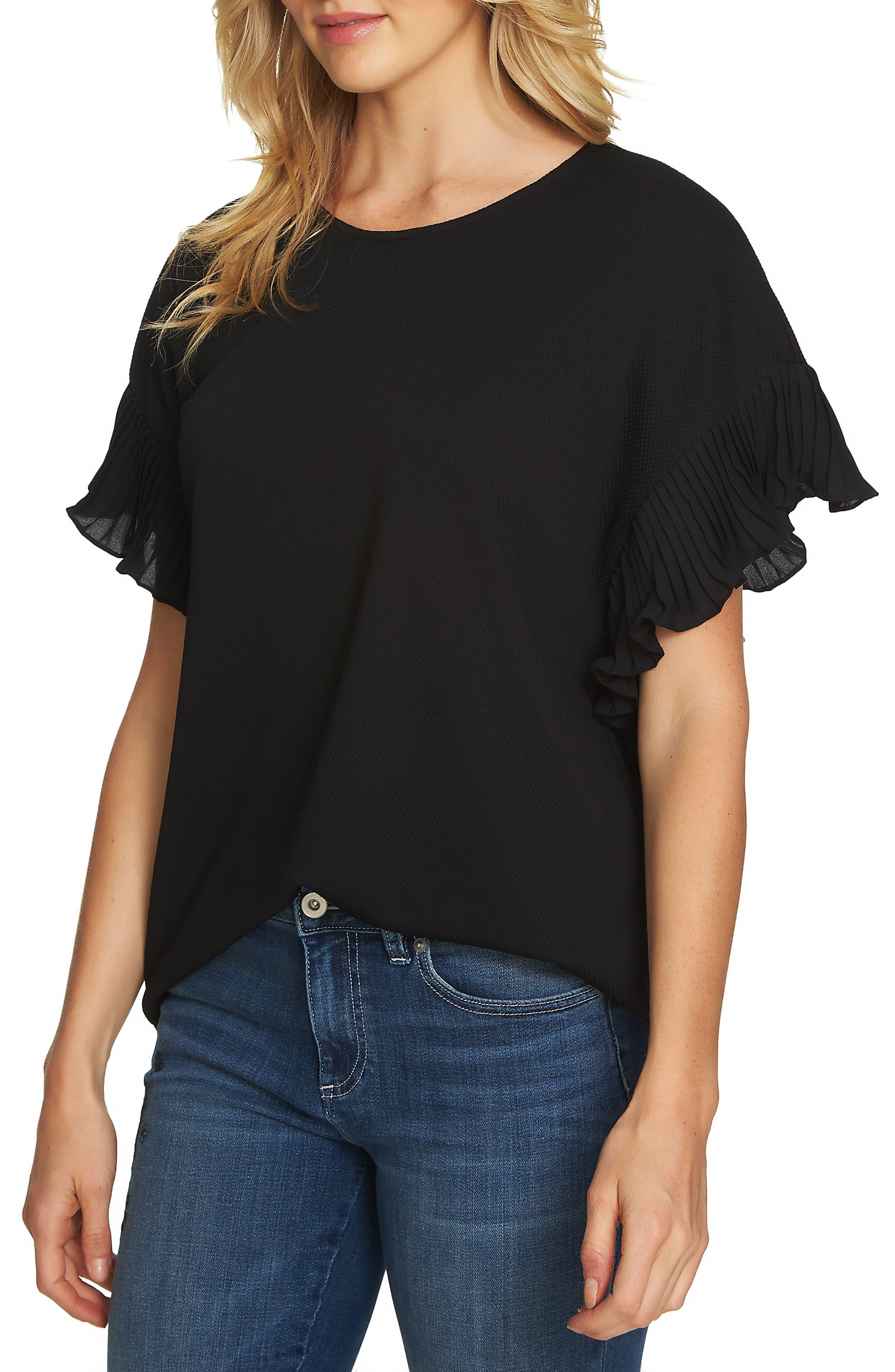 Honeycomb Knit Pleat Sleeve Shirt,                             Main thumbnail 1, color,                             006
