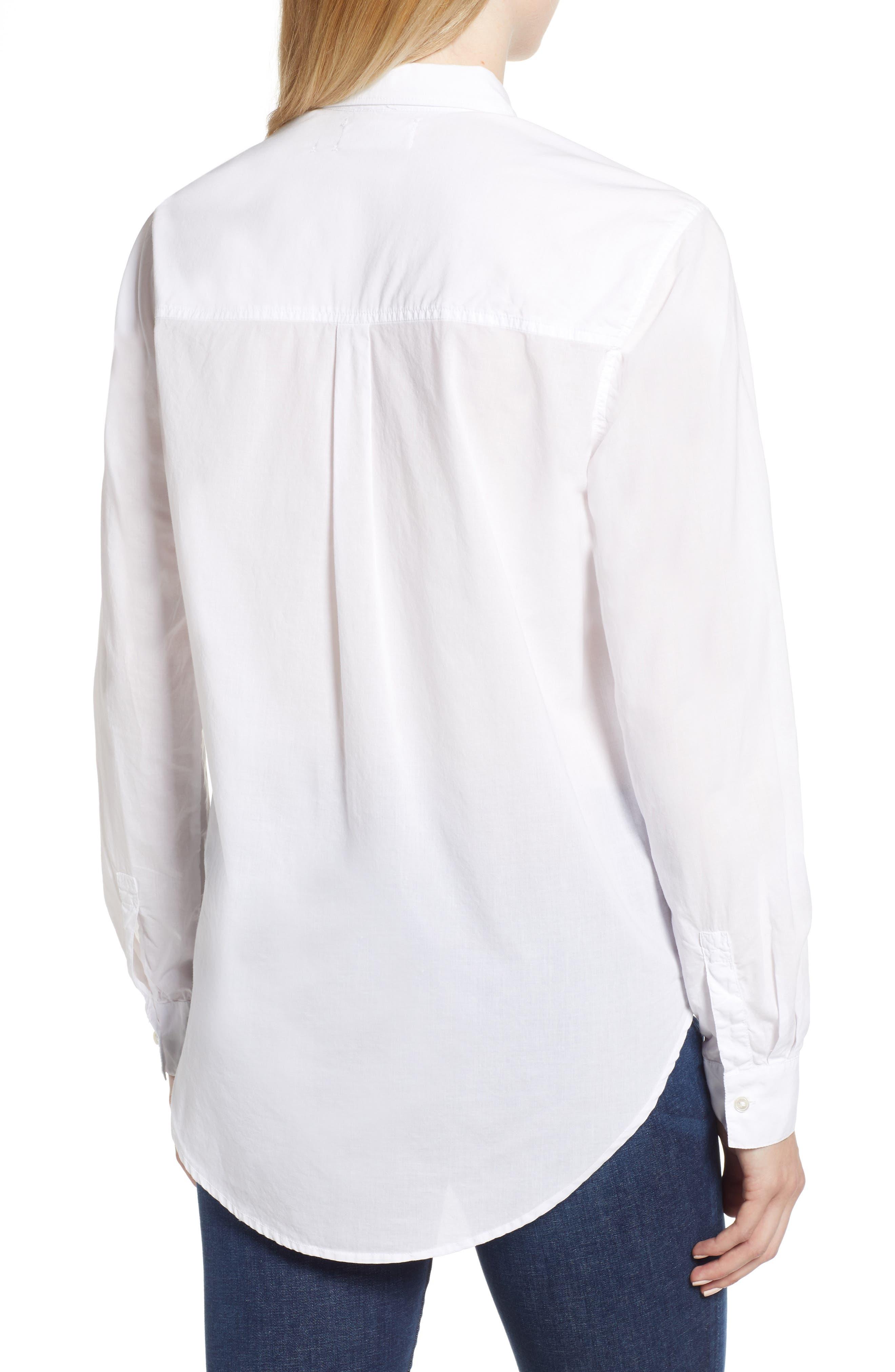 Ribbon Placket Cotton Button Up Shirt,                             Alternate thumbnail 2, color,                             WHITE