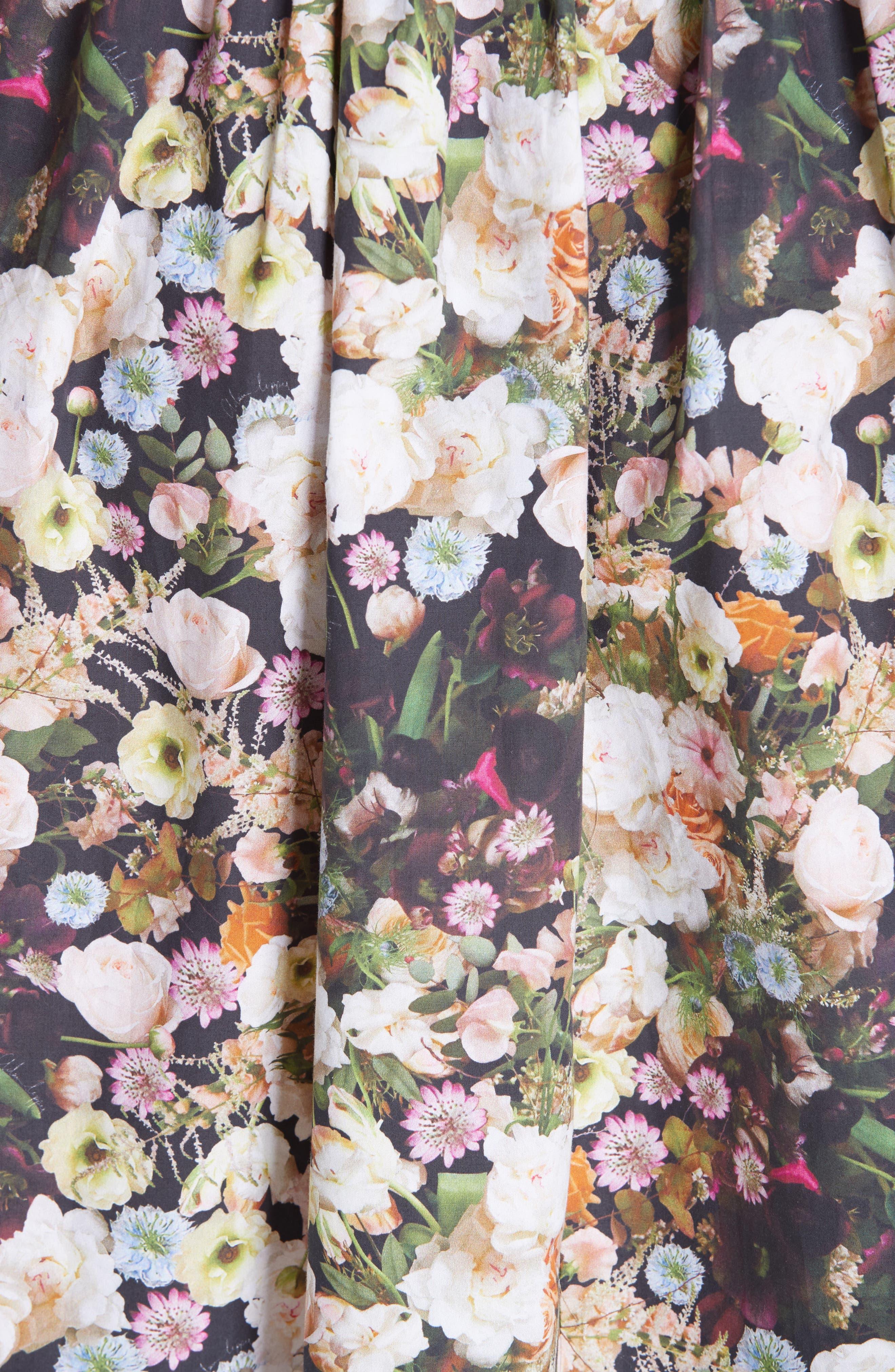 Floral Print Poplin Dress,                             Alternate thumbnail 5, color,                             BLACK FLORAL