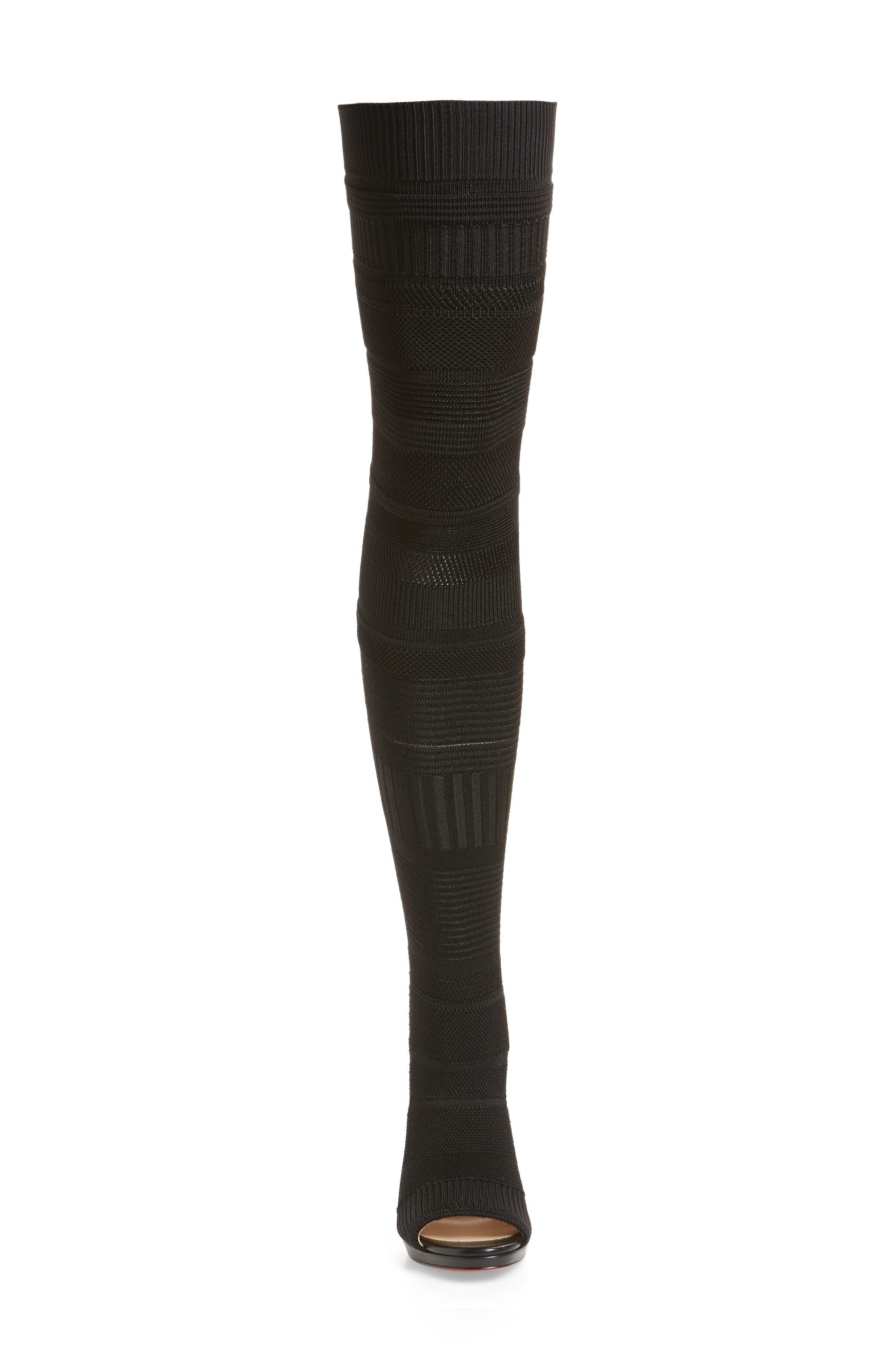 Cheminetta Over the Knee Sock Sandal,                             Alternate thumbnail 4, color,                             BLACK