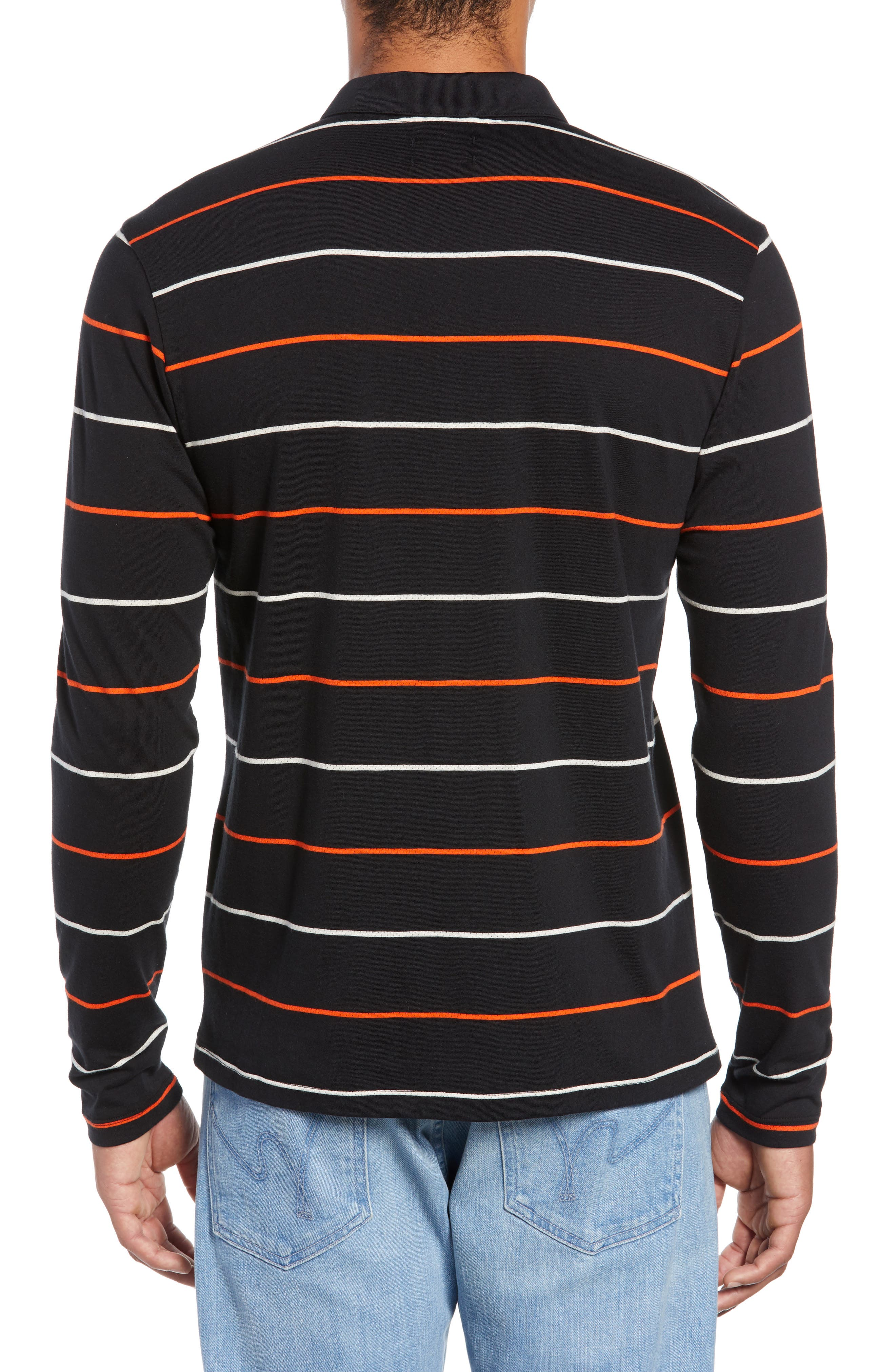 Channels Striped Long Sleeve Polo,                             Alternate thumbnail 2, color,                             BLACK