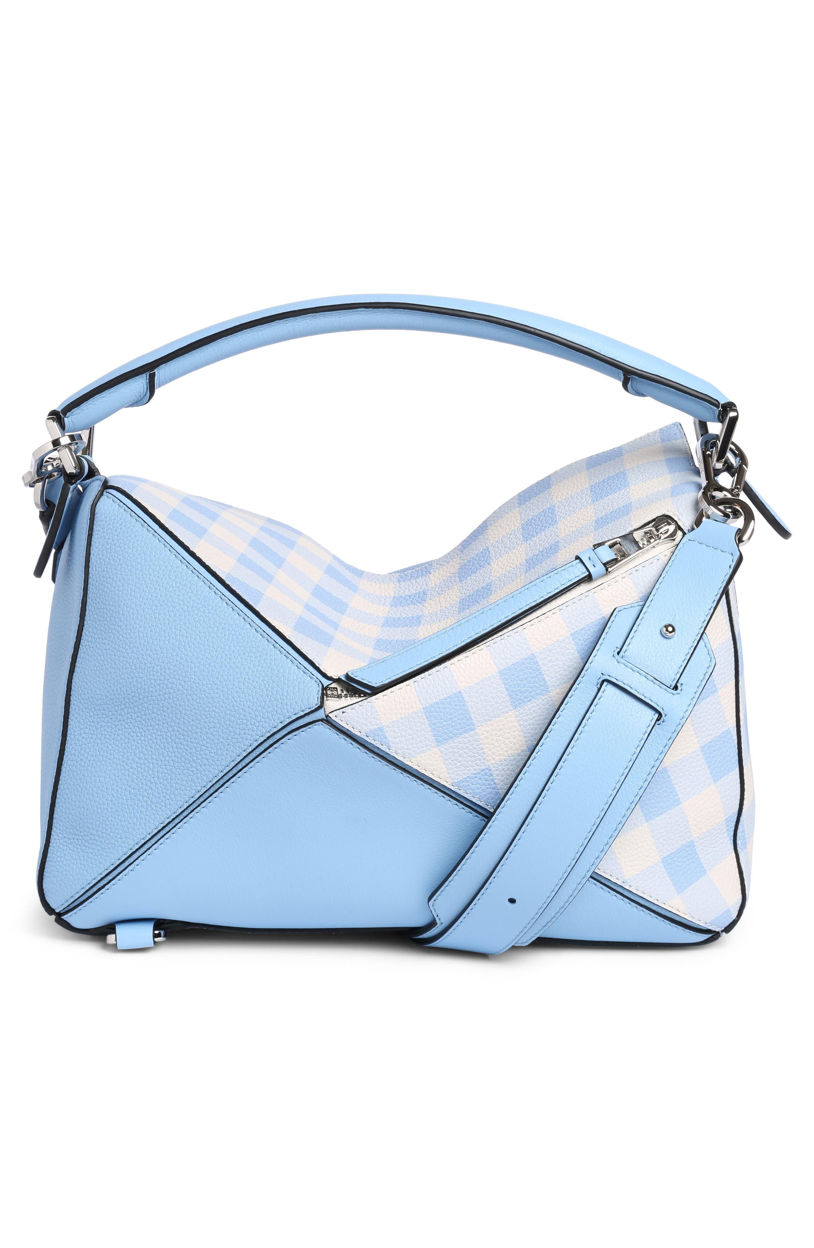 Puzzle Gingham Calfskin Leather Bag,                             Alternate thumbnail 2, color,                             455