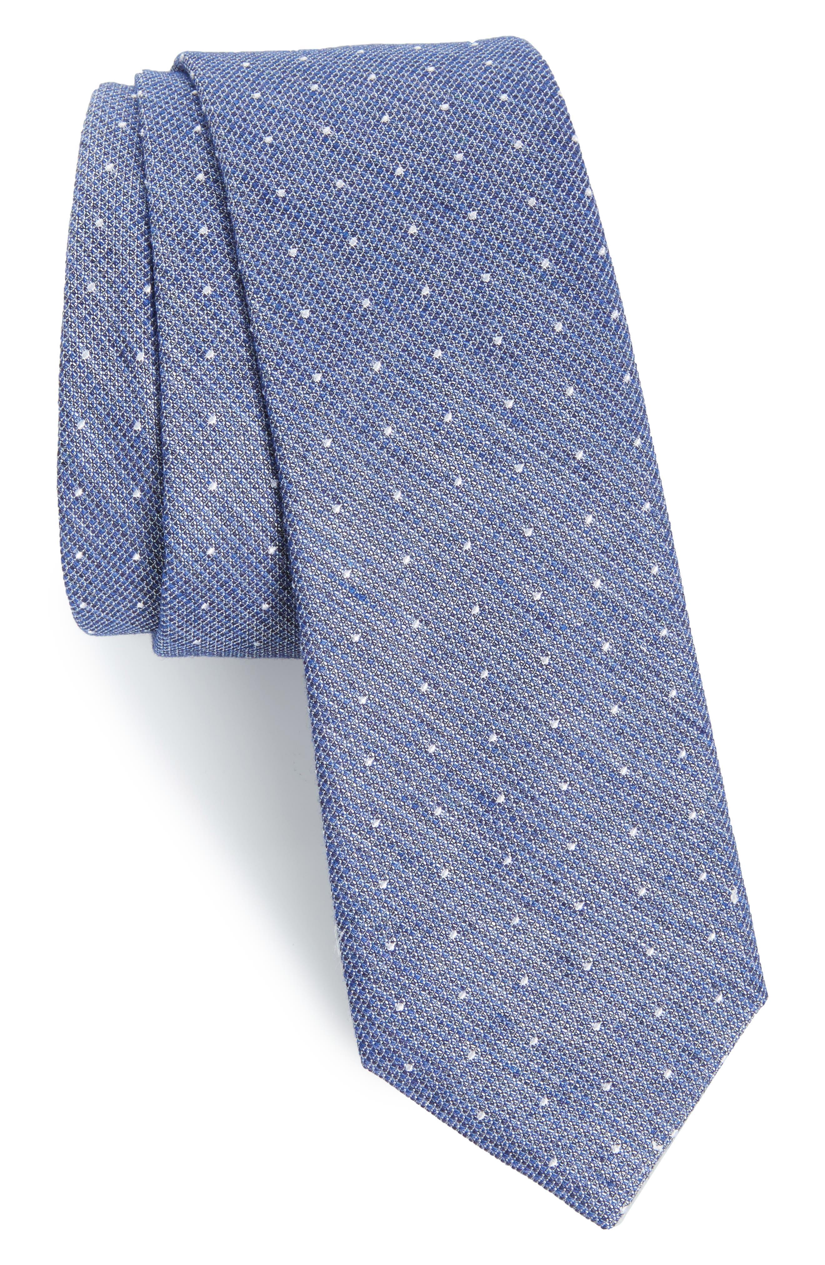 Dot Silk Blend Skinny Tie,                             Main thumbnail 1, color,                             100