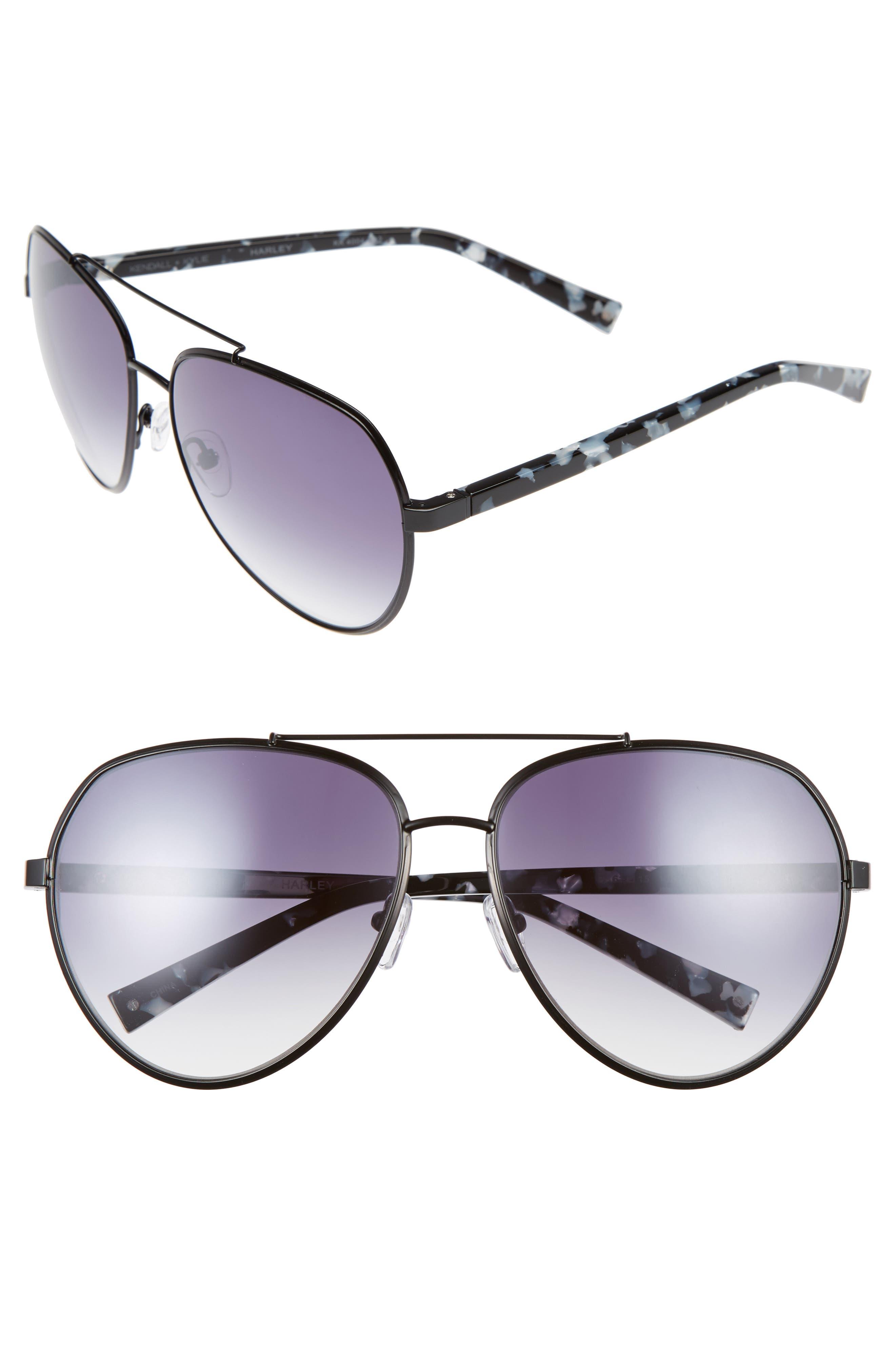 61mm Aviator Sunglasses,                             Main thumbnail 1, color,                             001