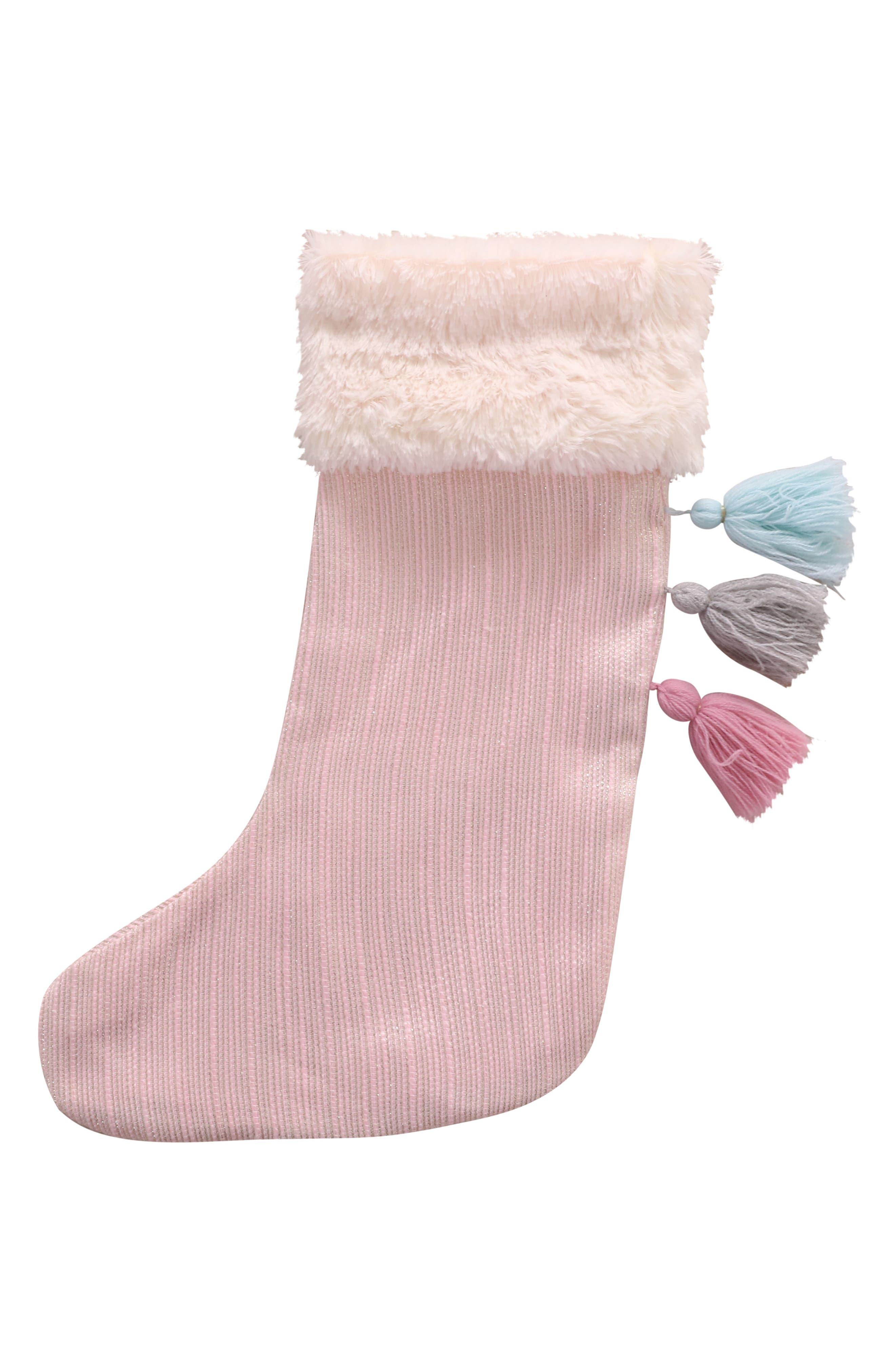 Faux Fur Trim Tassel Stocking,                         Main,                         color, BLUSH