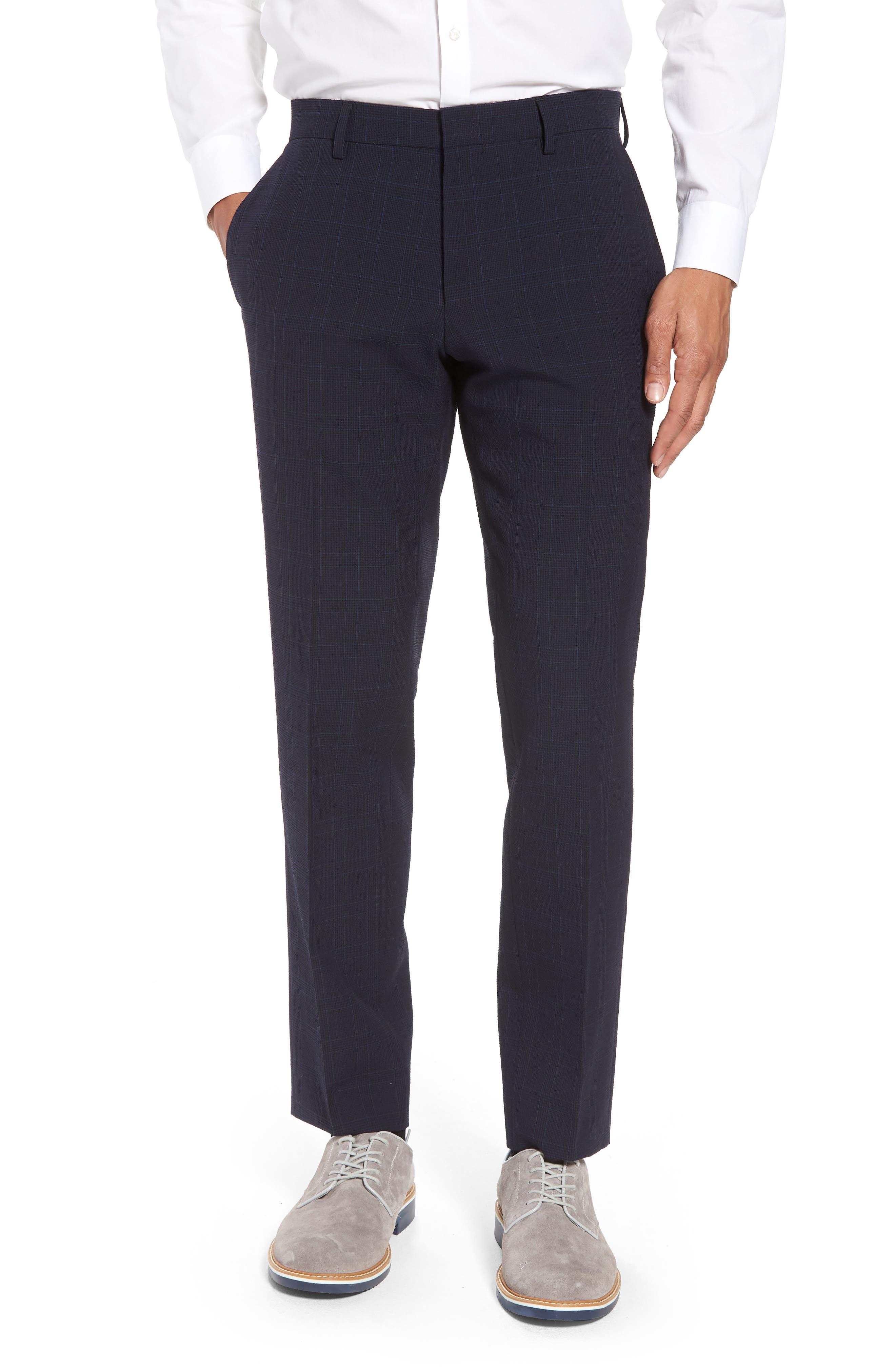 Helford/Gander Trim Fit Plaid Wool & Cotton Suit,                             Alternate thumbnail 6, color,