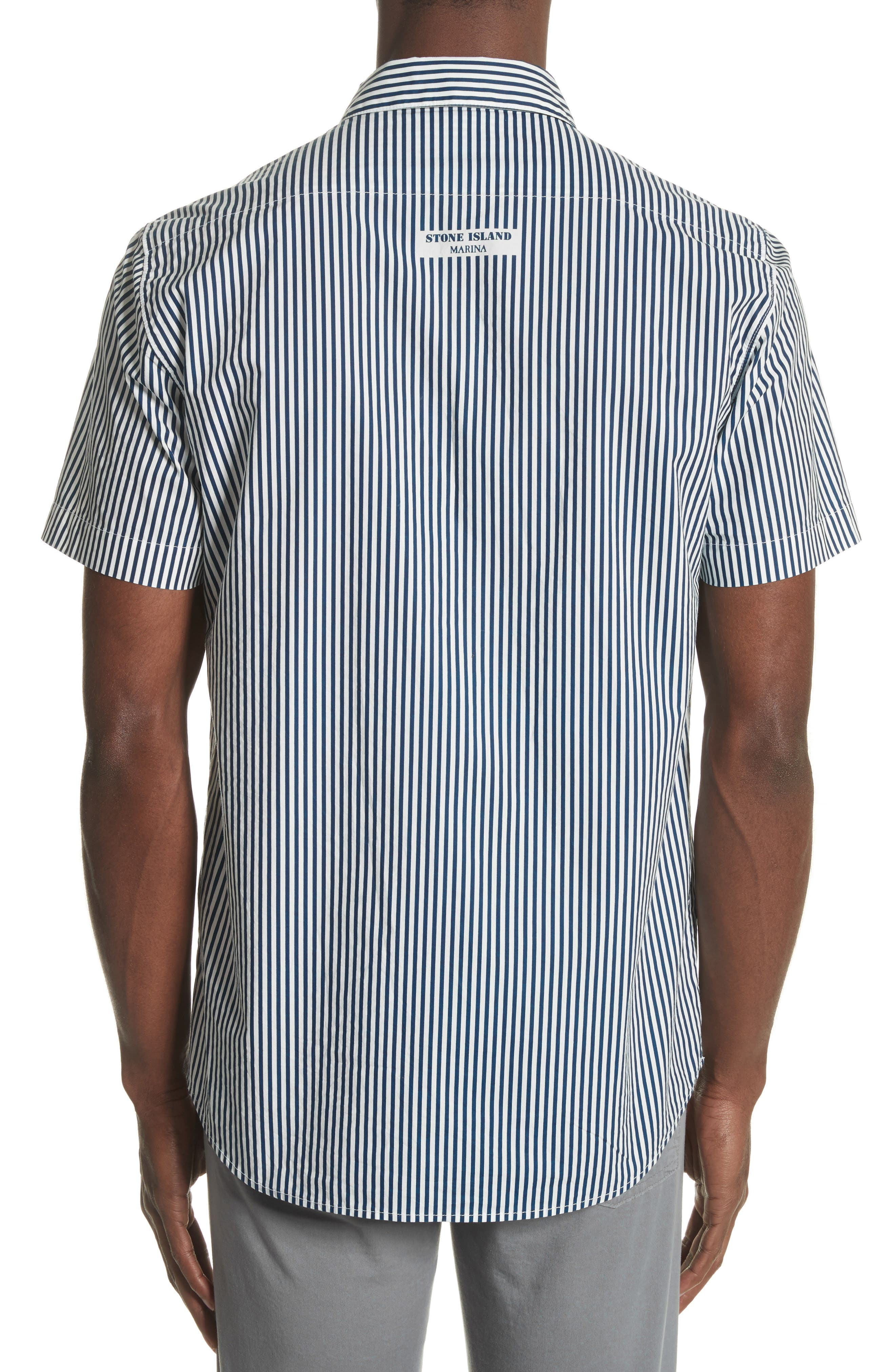STONE ISLAND,                             Stripe Woven Shirt,                             Alternate thumbnail 2, color,                             100