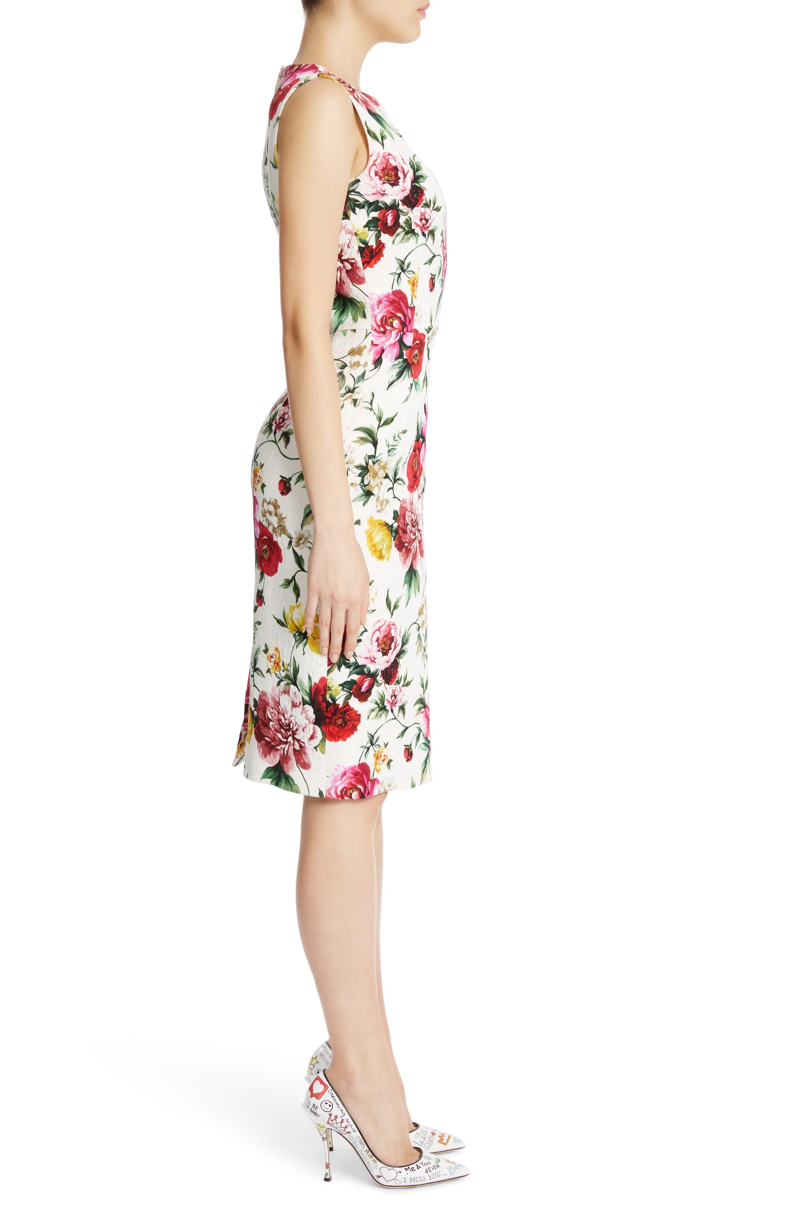 Floral Print Jacquard Sheath Dress,                             Alternate thumbnail 3, color,                             115