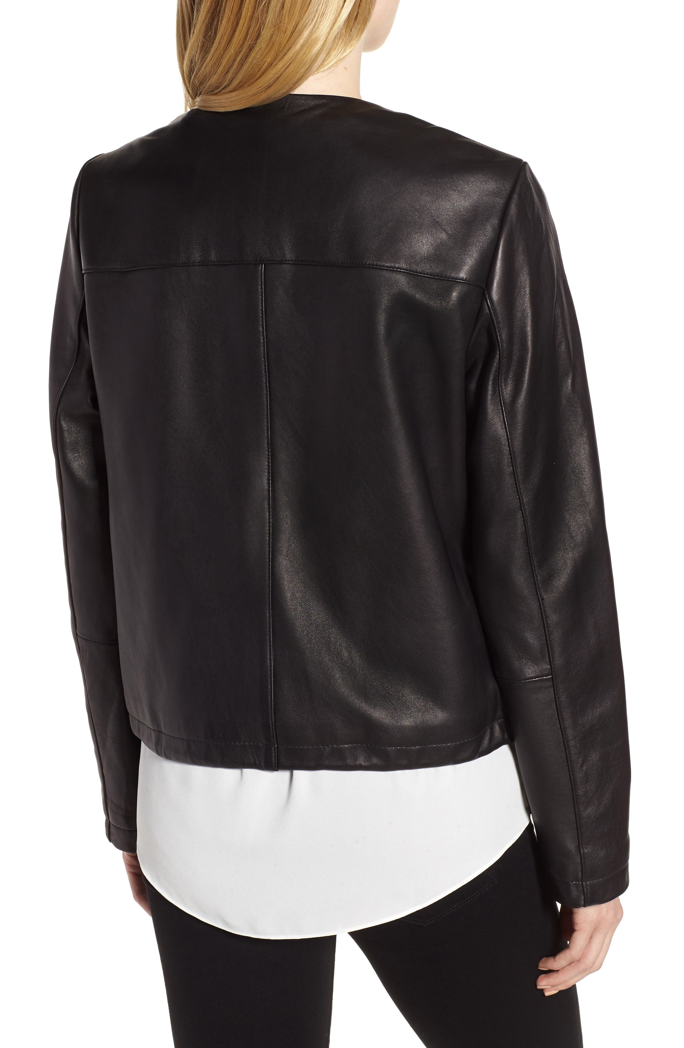 Lambskin Leather Jacket,                             Alternate thumbnail 2, color,                             001