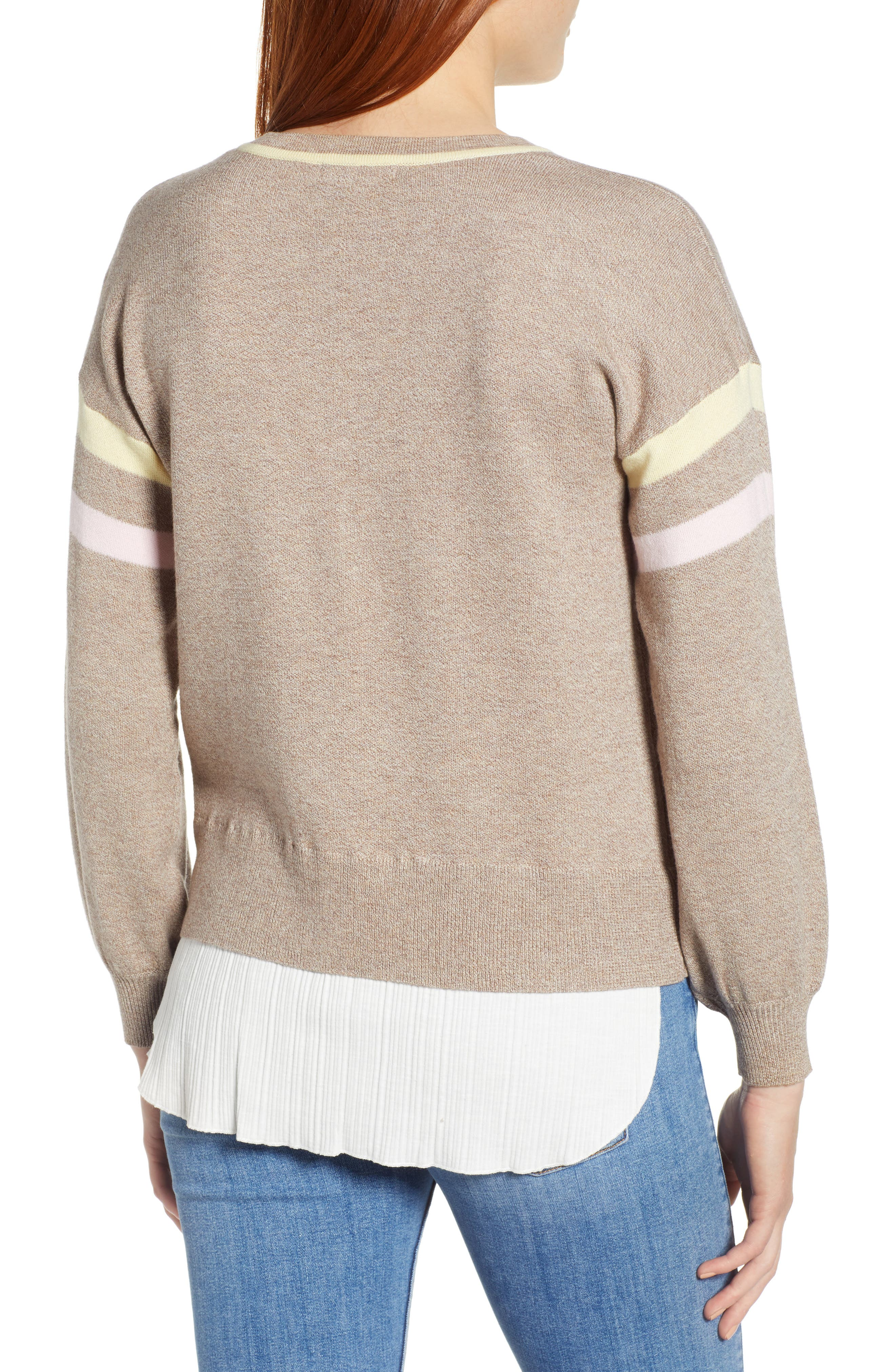 Layered Look Stripe Sweater,                             Alternate thumbnail 2, color,                             HEATHER CLOVE