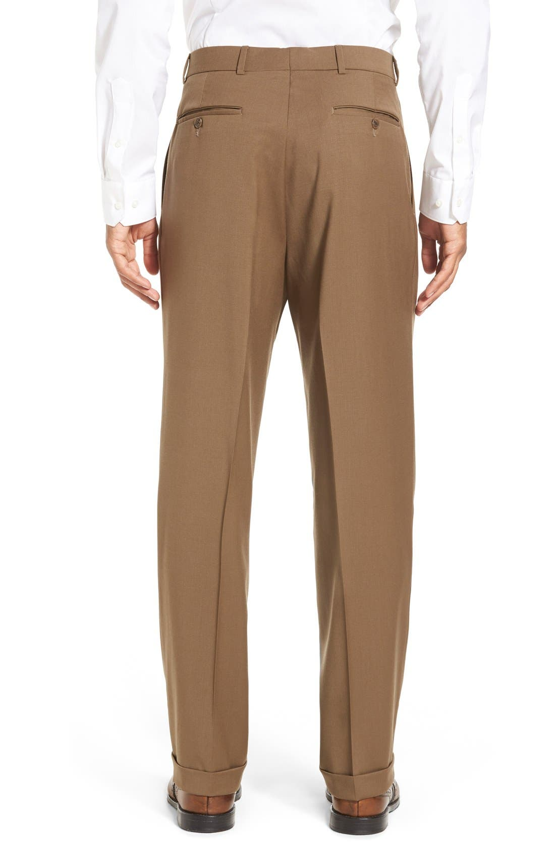 Pleated Solid Wool Trousers,                             Alternate thumbnail 21, color,