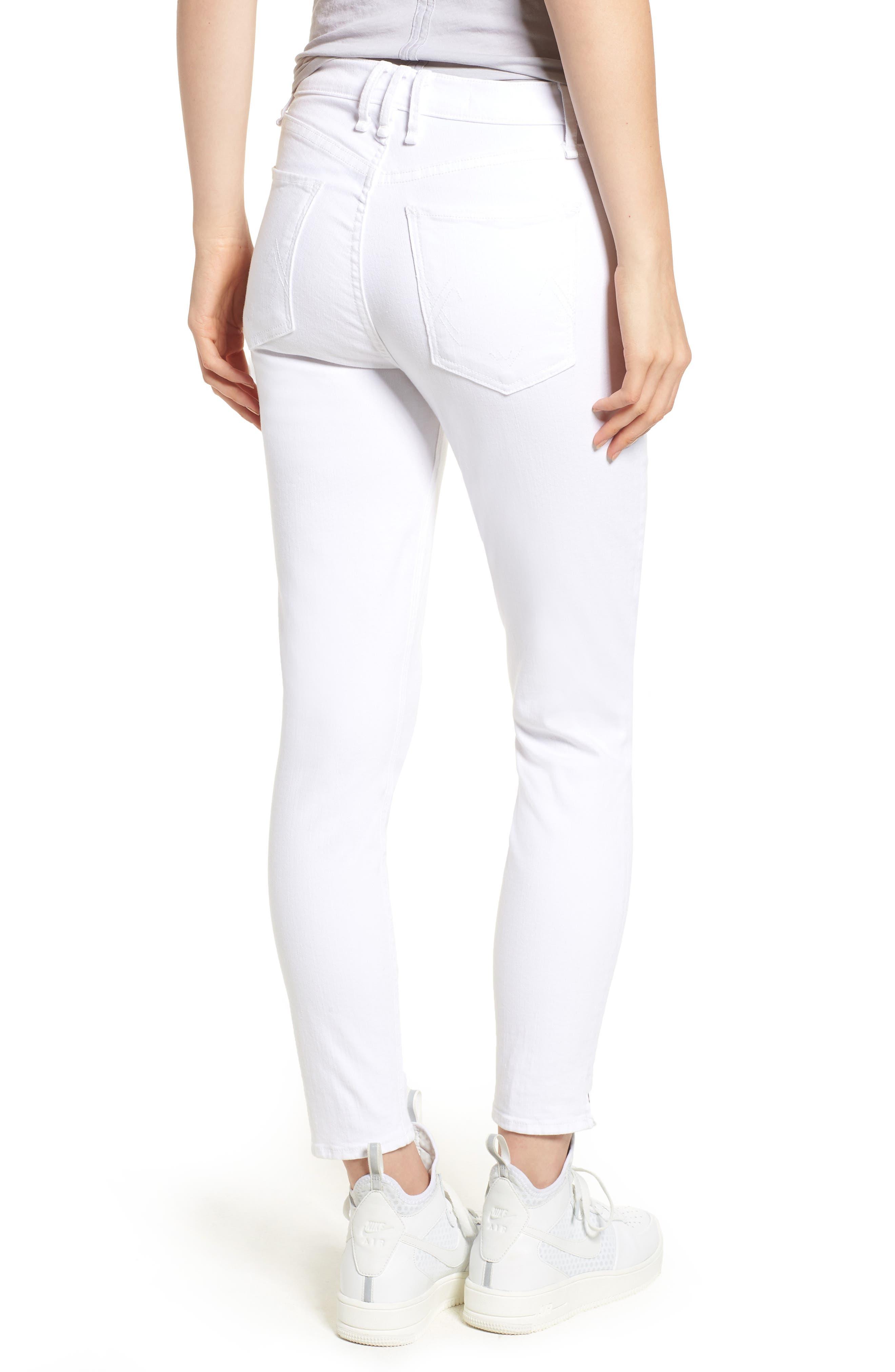 Split Hem High Waist Ankle Skinny Jeans,                             Alternate thumbnail 2, color,                             100