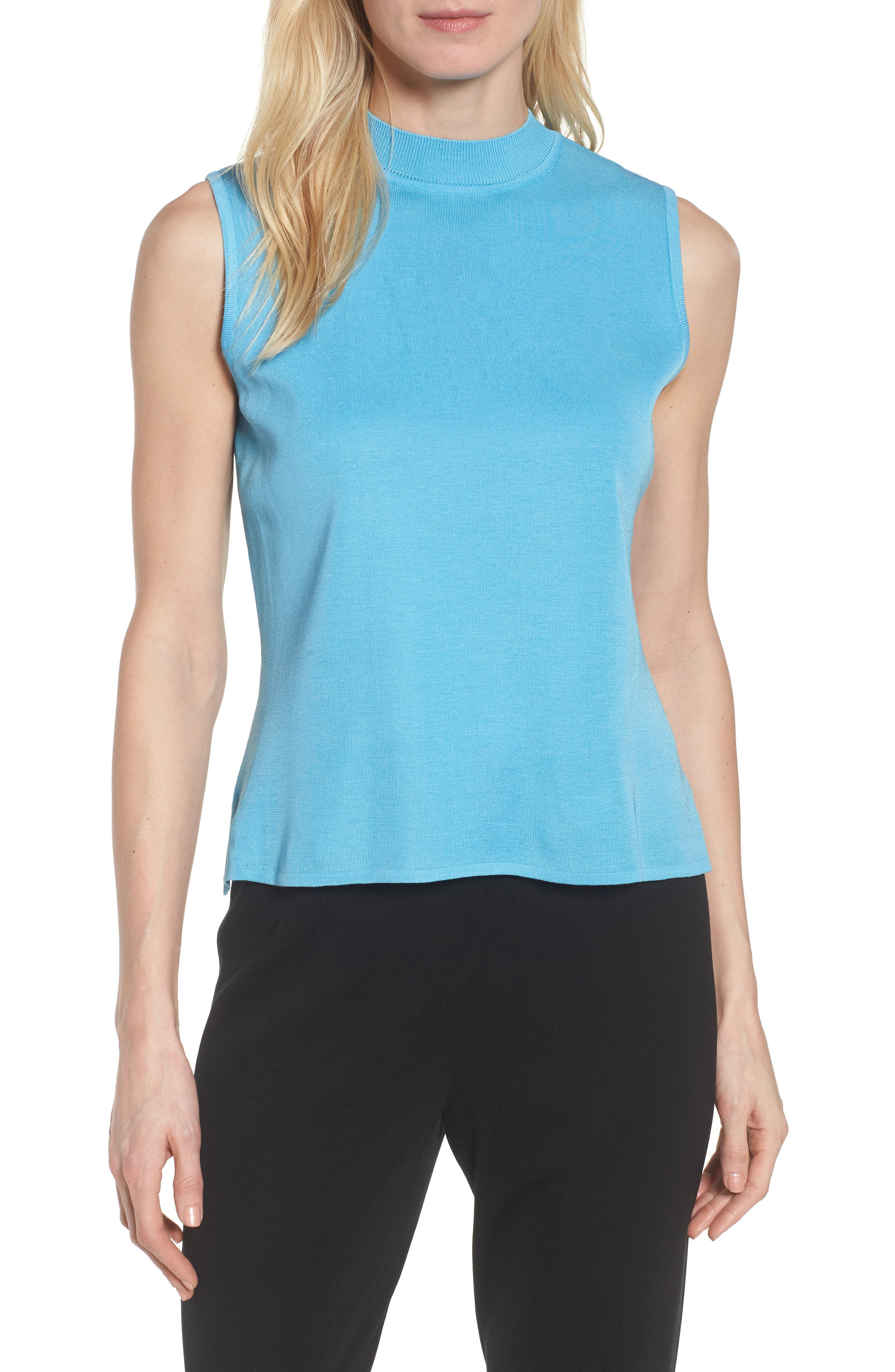 Mock Neck Knit Tank,                         Main,                         color, BLUEBONNET
